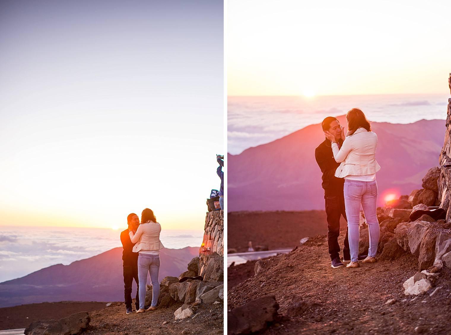 couple in love on top of haleakala