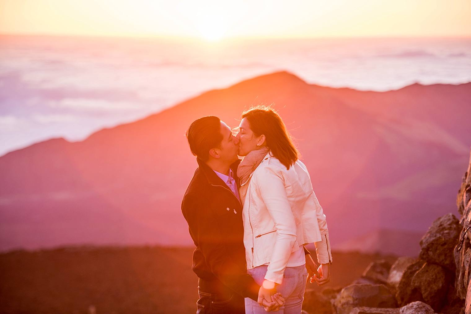 first kiss after engaged on haleakala at sunrise