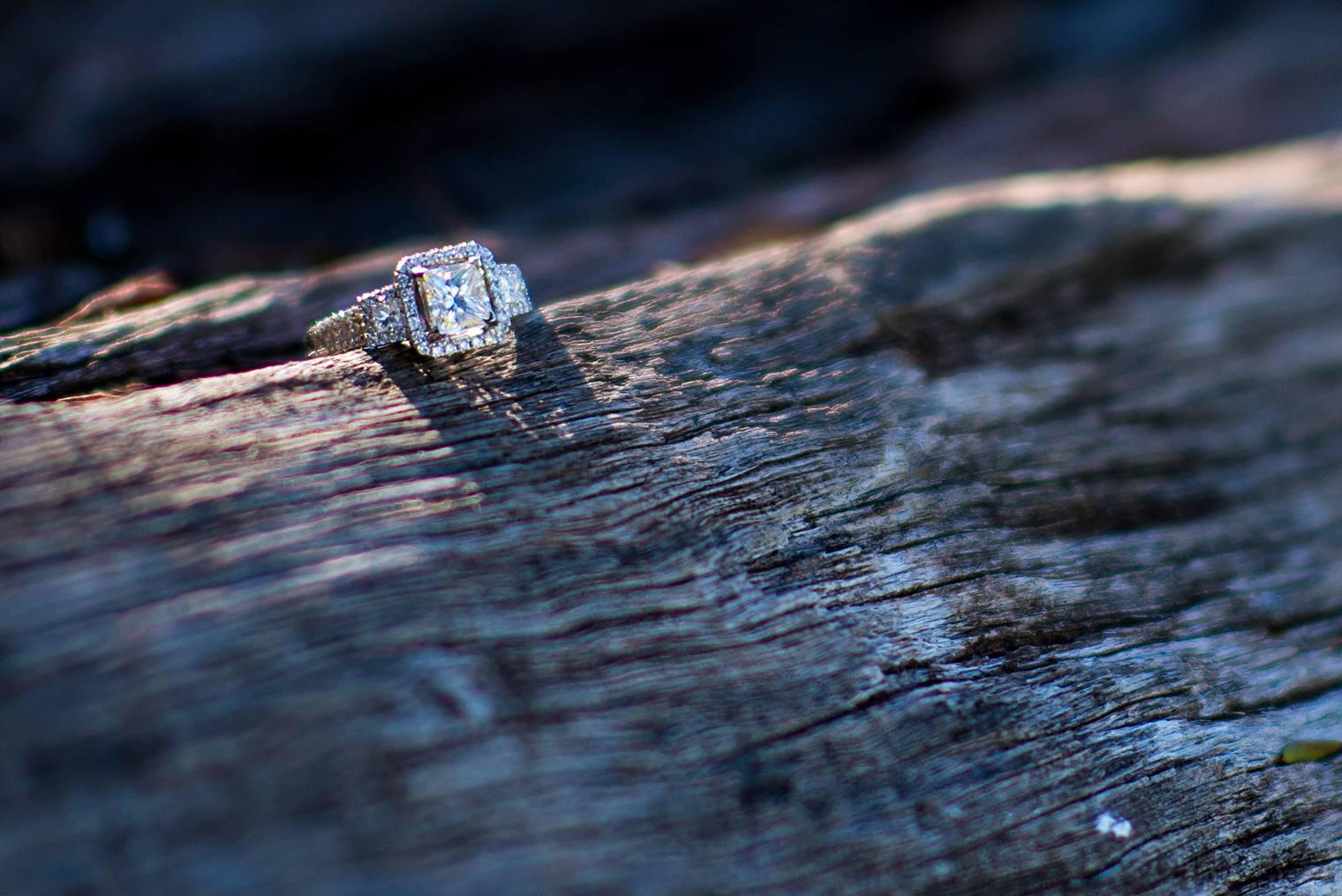 cushion set square diamond engagement ring