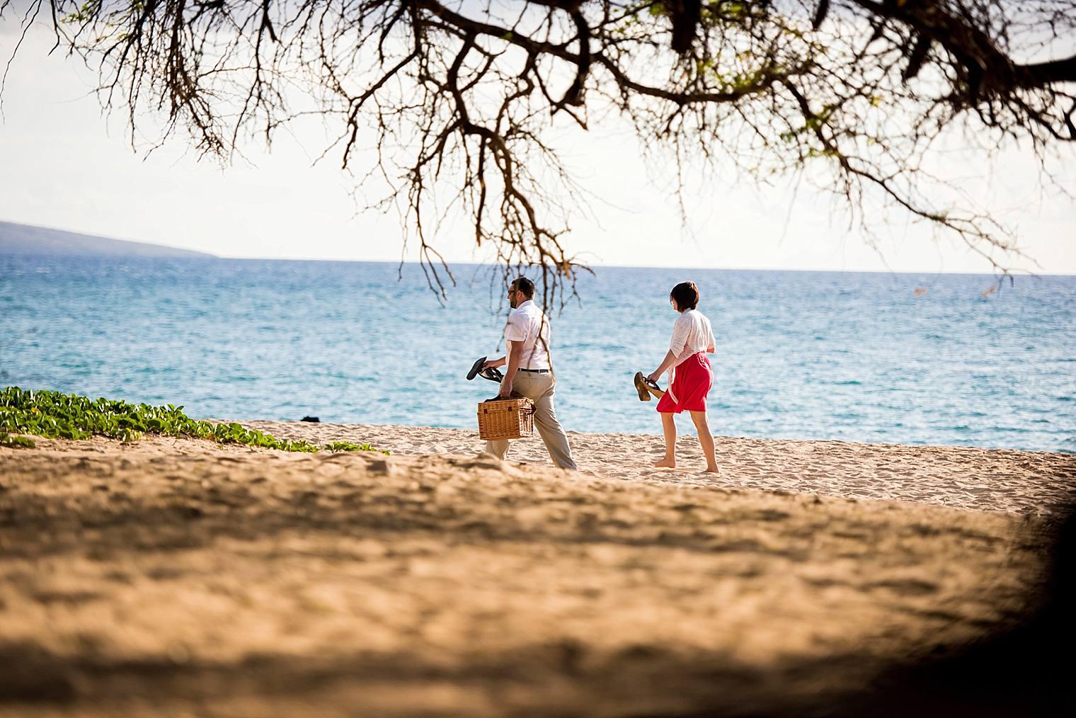 walking to beach picnic