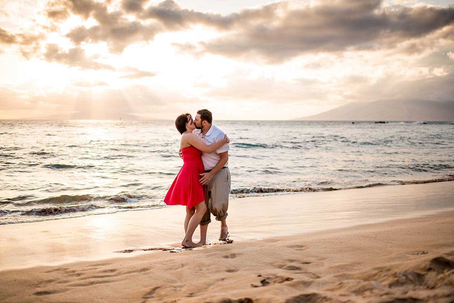 sunset on beach in maui just engaged
