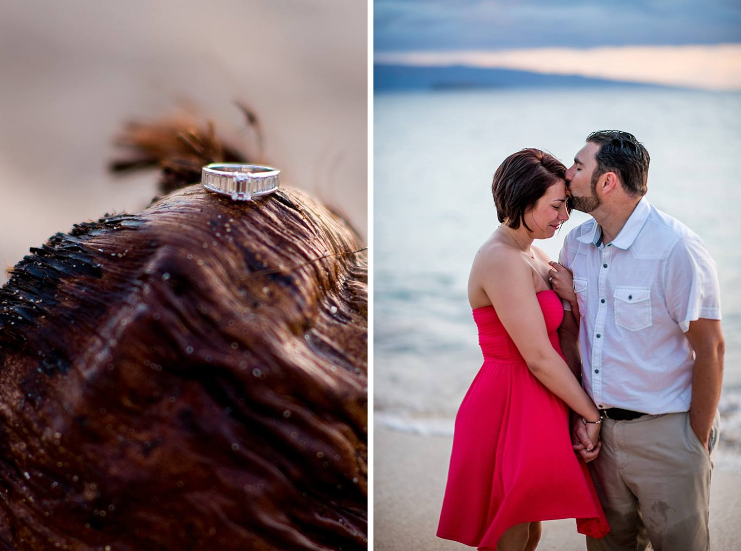 engaged couple in maui, hawaii