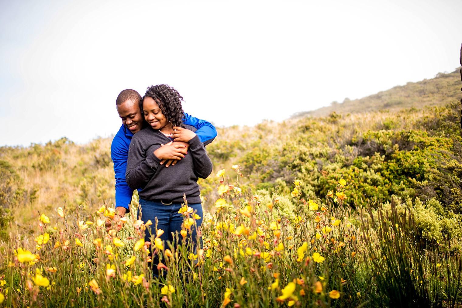 couple in field of flowers on Haleakala