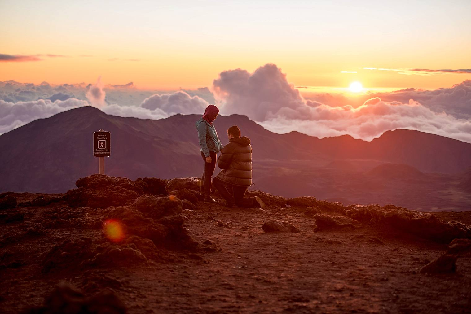 sunrise proposal on top of Haleakala