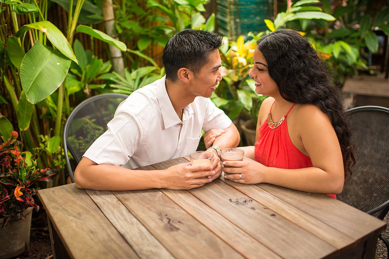 engagement photos at coffee shop in hawaii