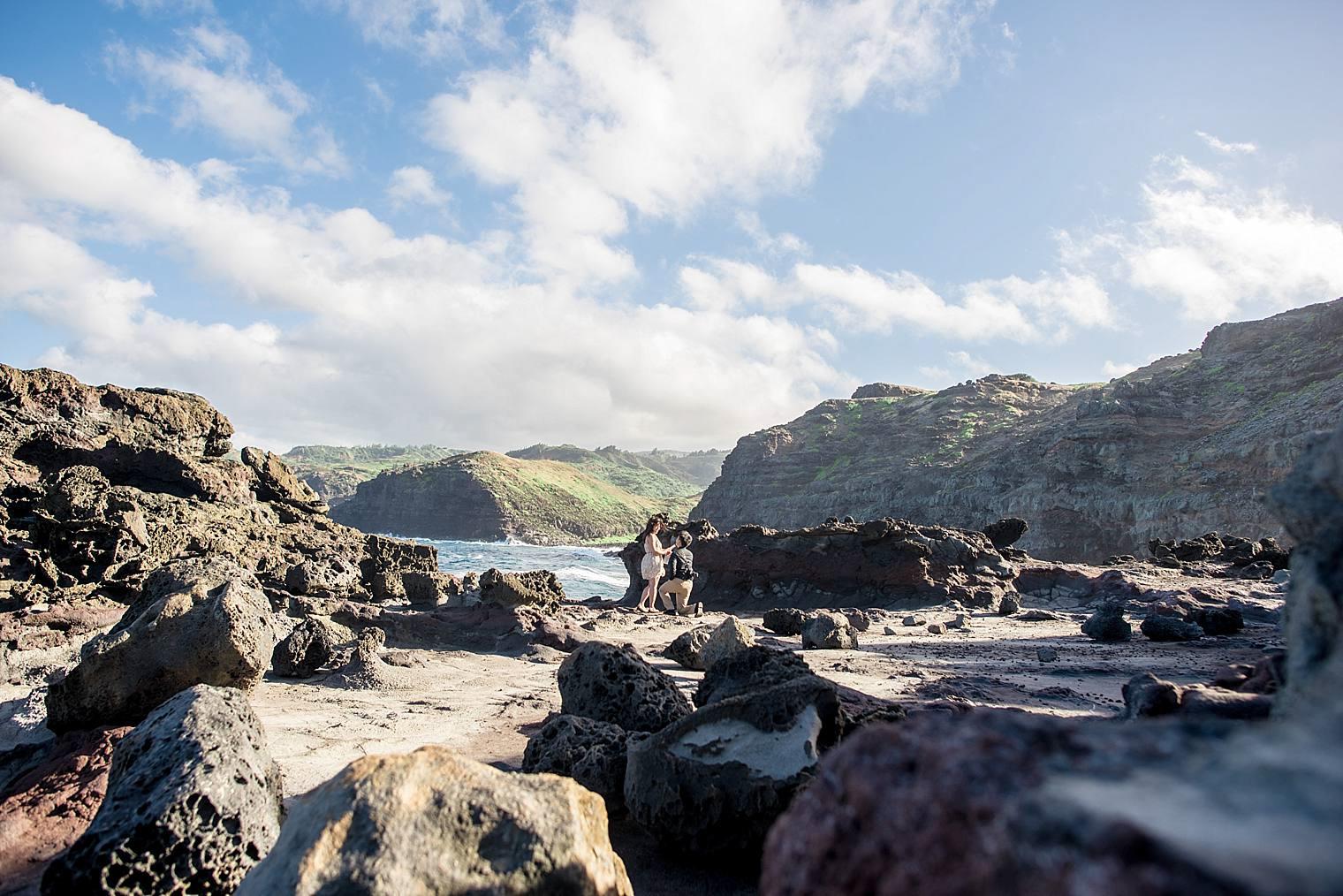 nakalele heart rock proposal in maui, hawaii