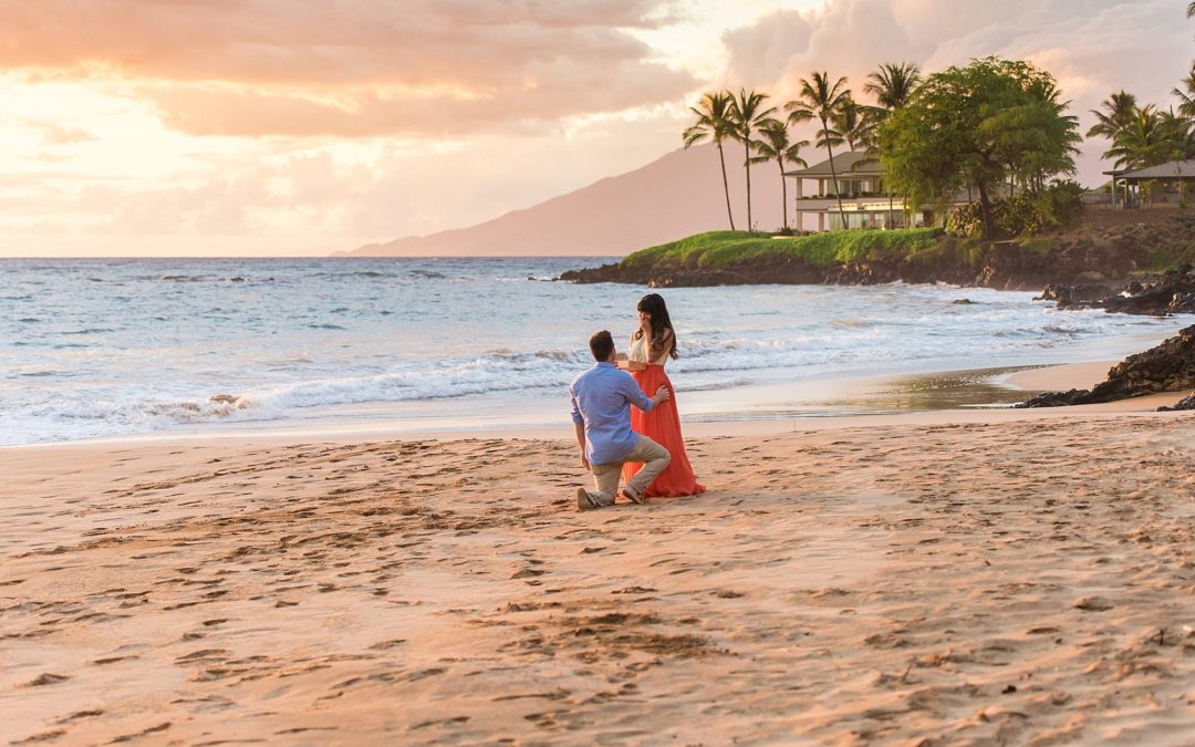 Sunset Proposal in Wailea, Maui   Kenzie + Mitchell
