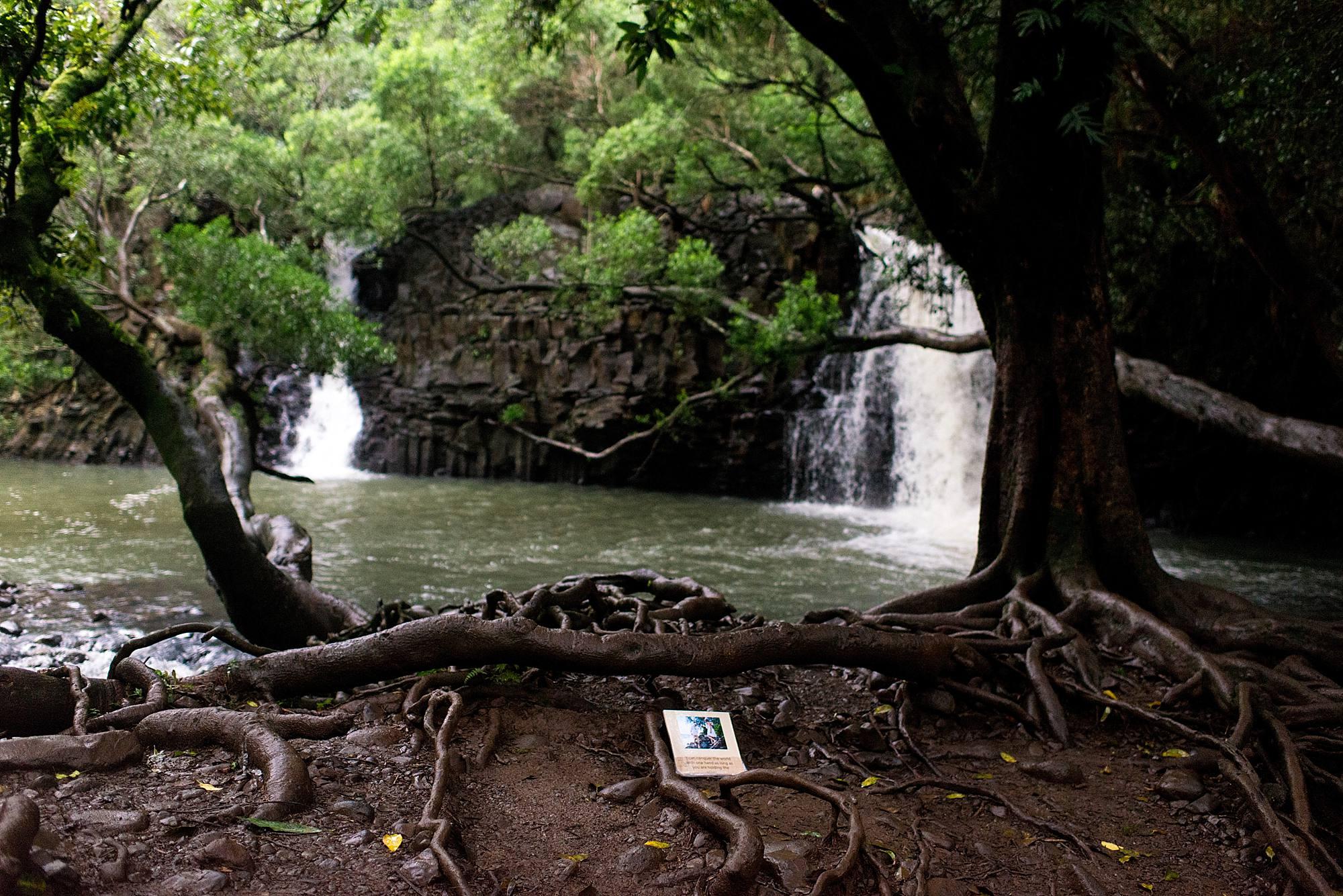 book waiting at waterfall in hawaii