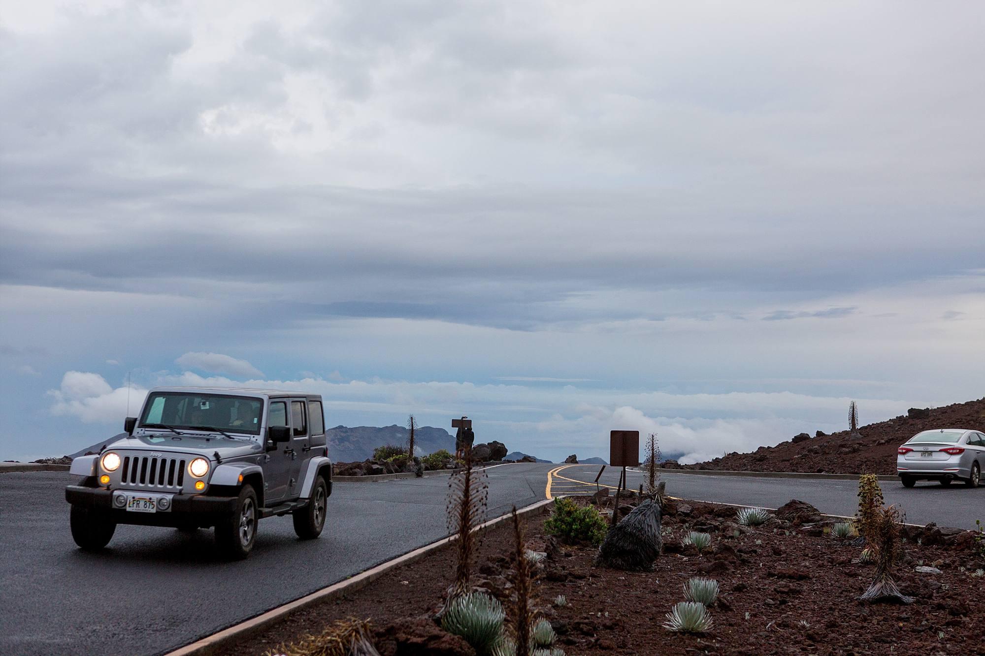 Jeep driving into Haleakala National Park