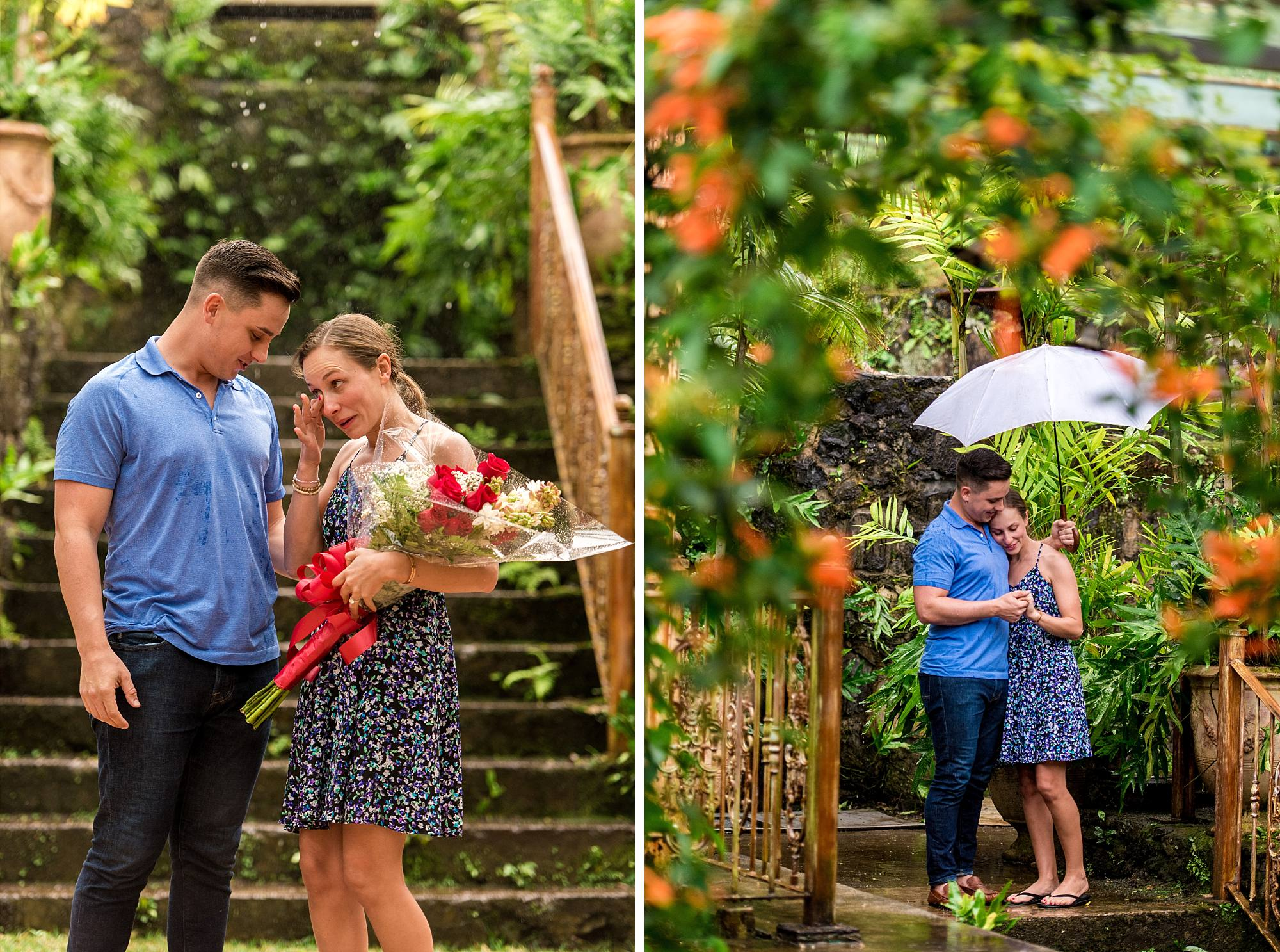 woman wiping away tears holding flowers next to her new fiance