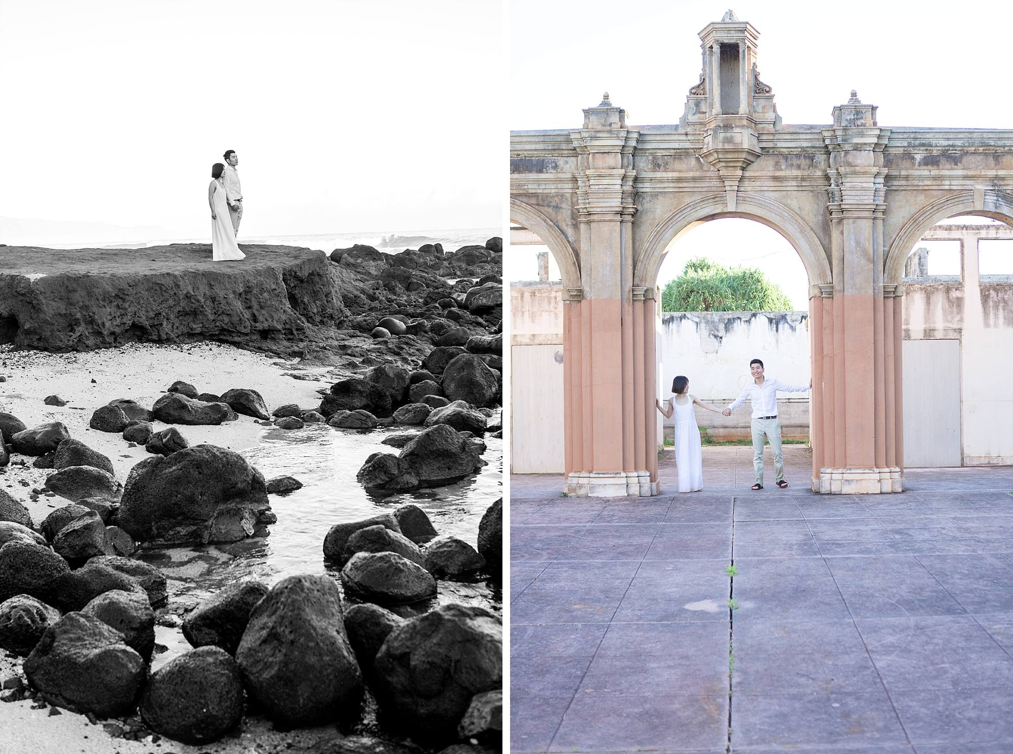 couple on lava rocks and under an archway