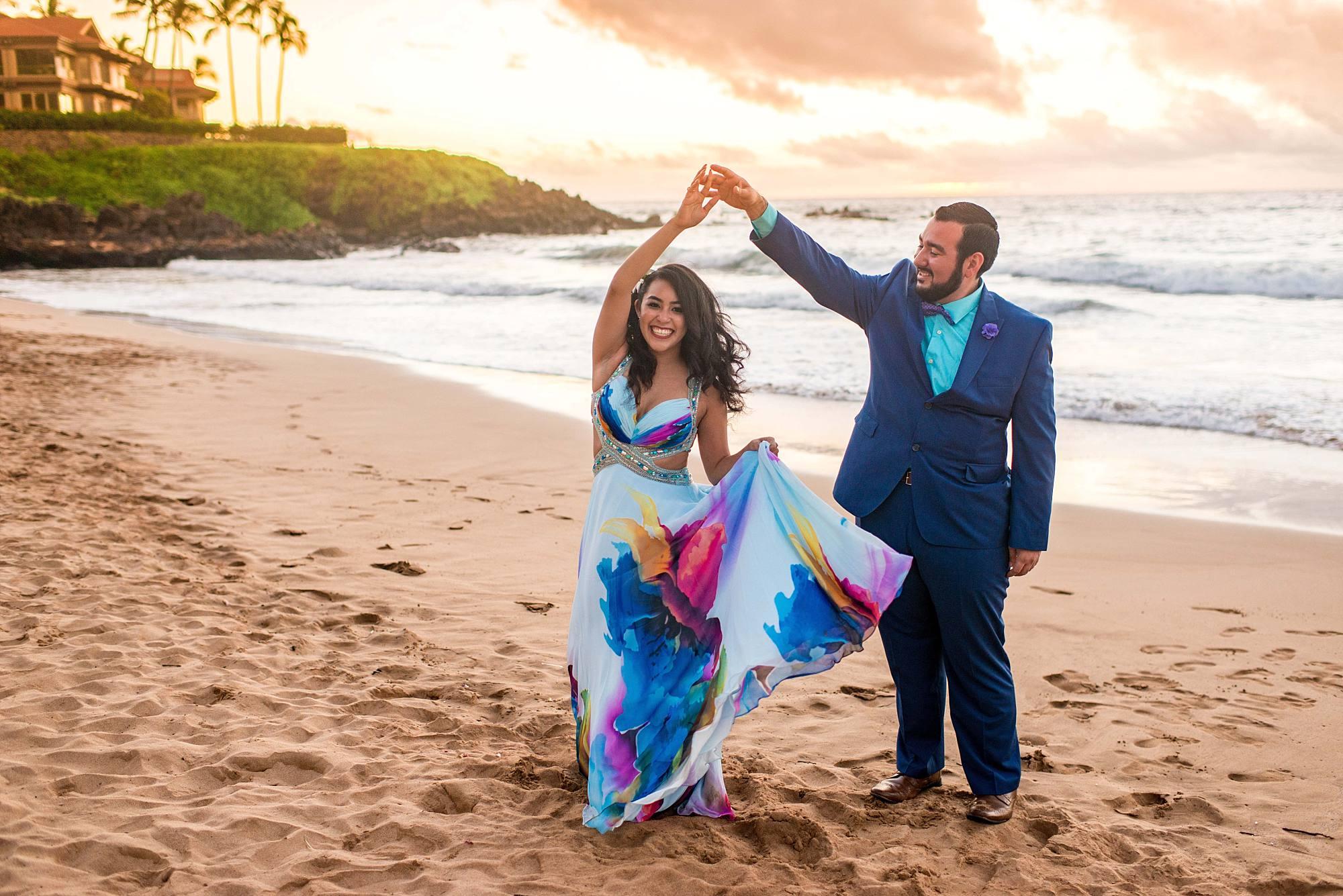fiances dancing on South Maui beach