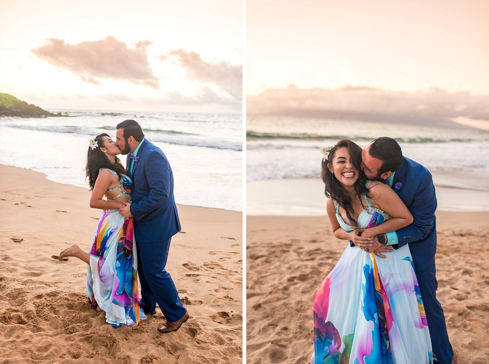 fiances kissing on beach near sunset
