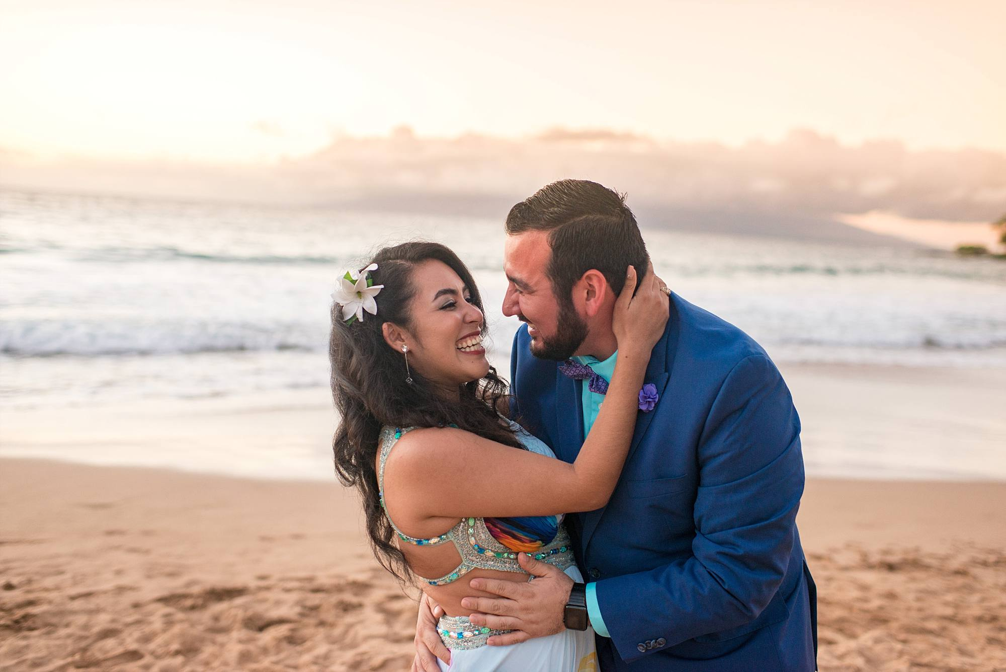 newly engaged couple, man going in for the kiss, Maui beach