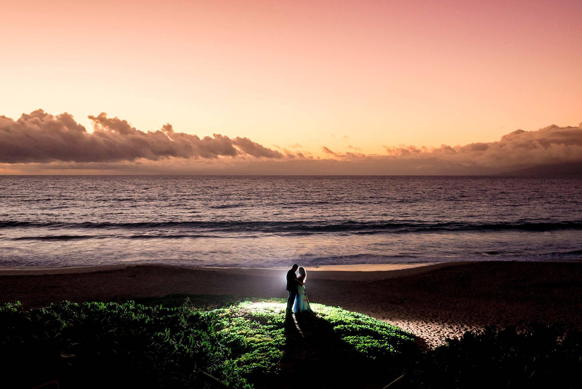 sunset engagement shot, backlit