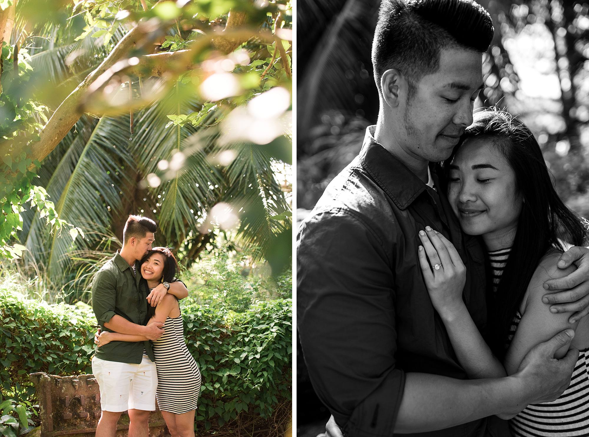 Newly engaged couple snuggling for their engagement shots