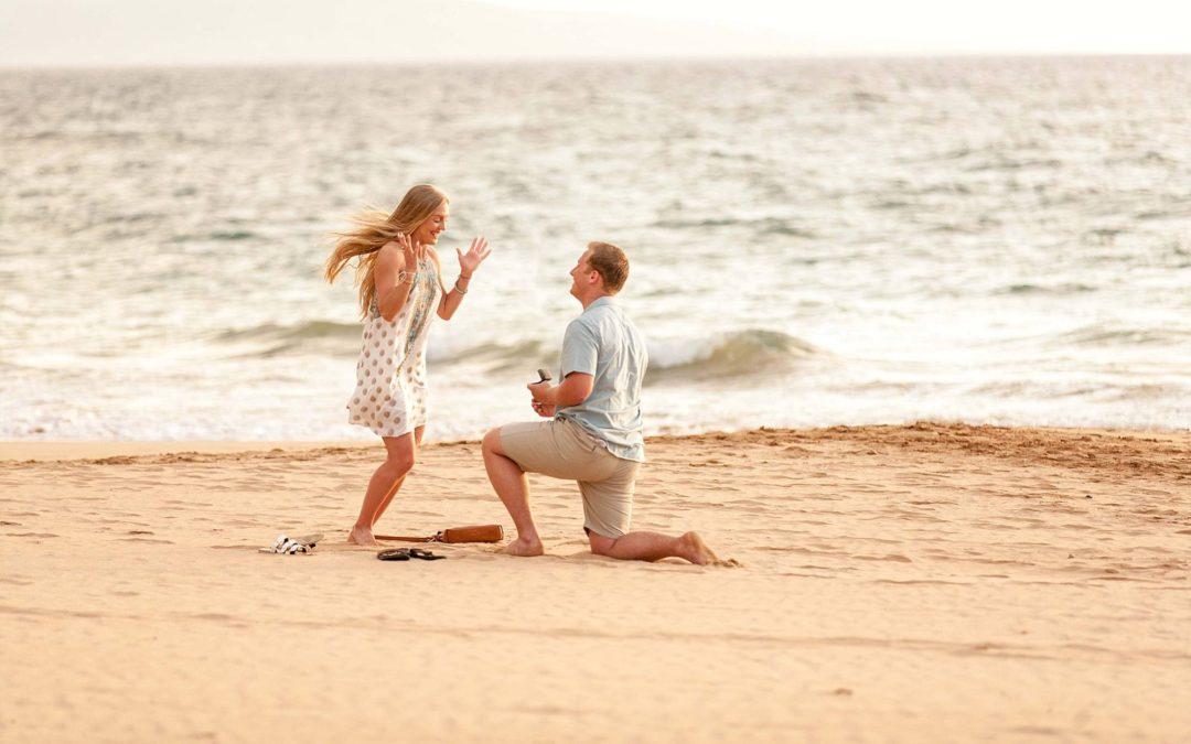 Wide Open Beach Sunset Proposal | Alex + Hannah