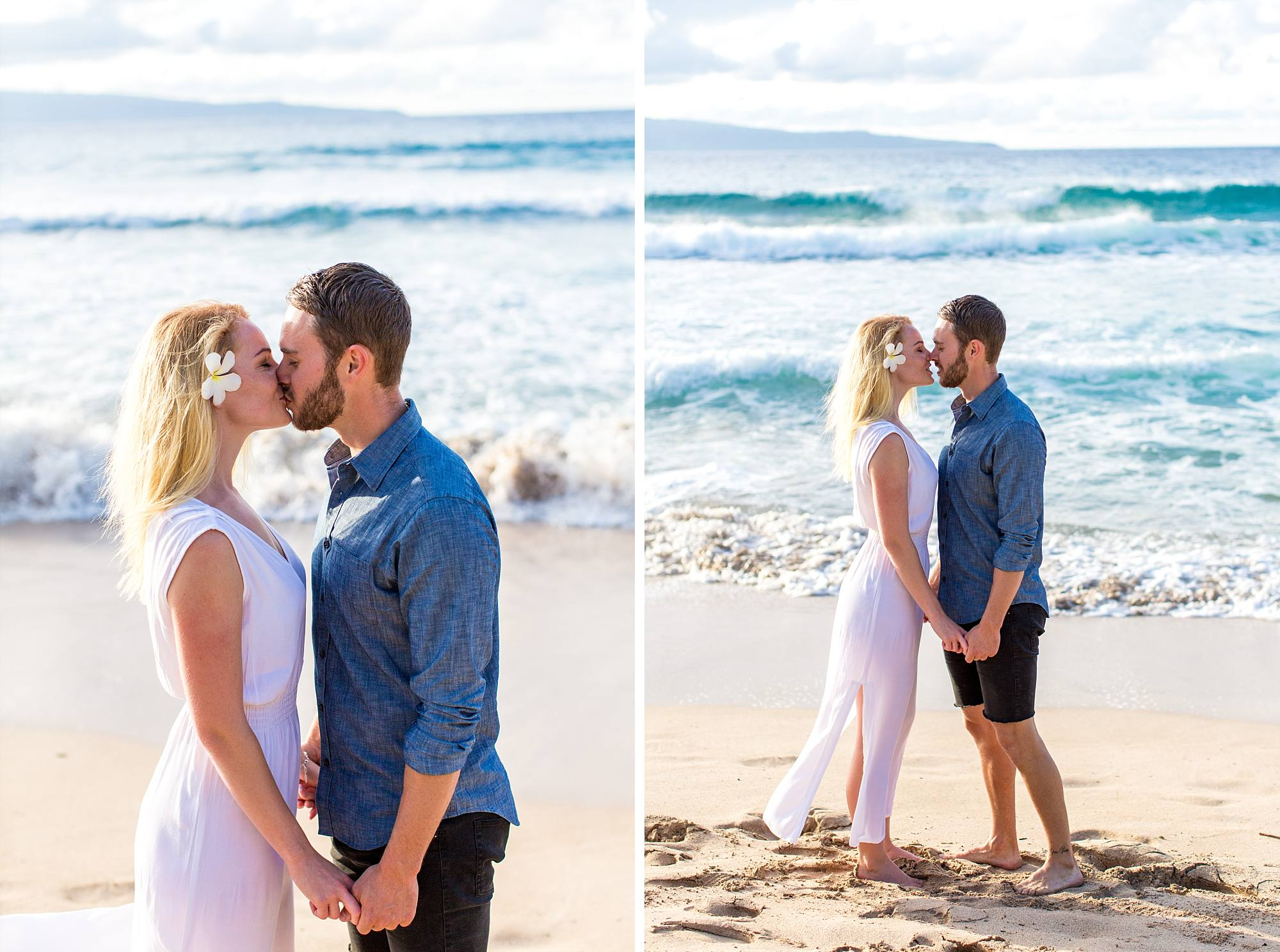 new fiances kissing on the beach