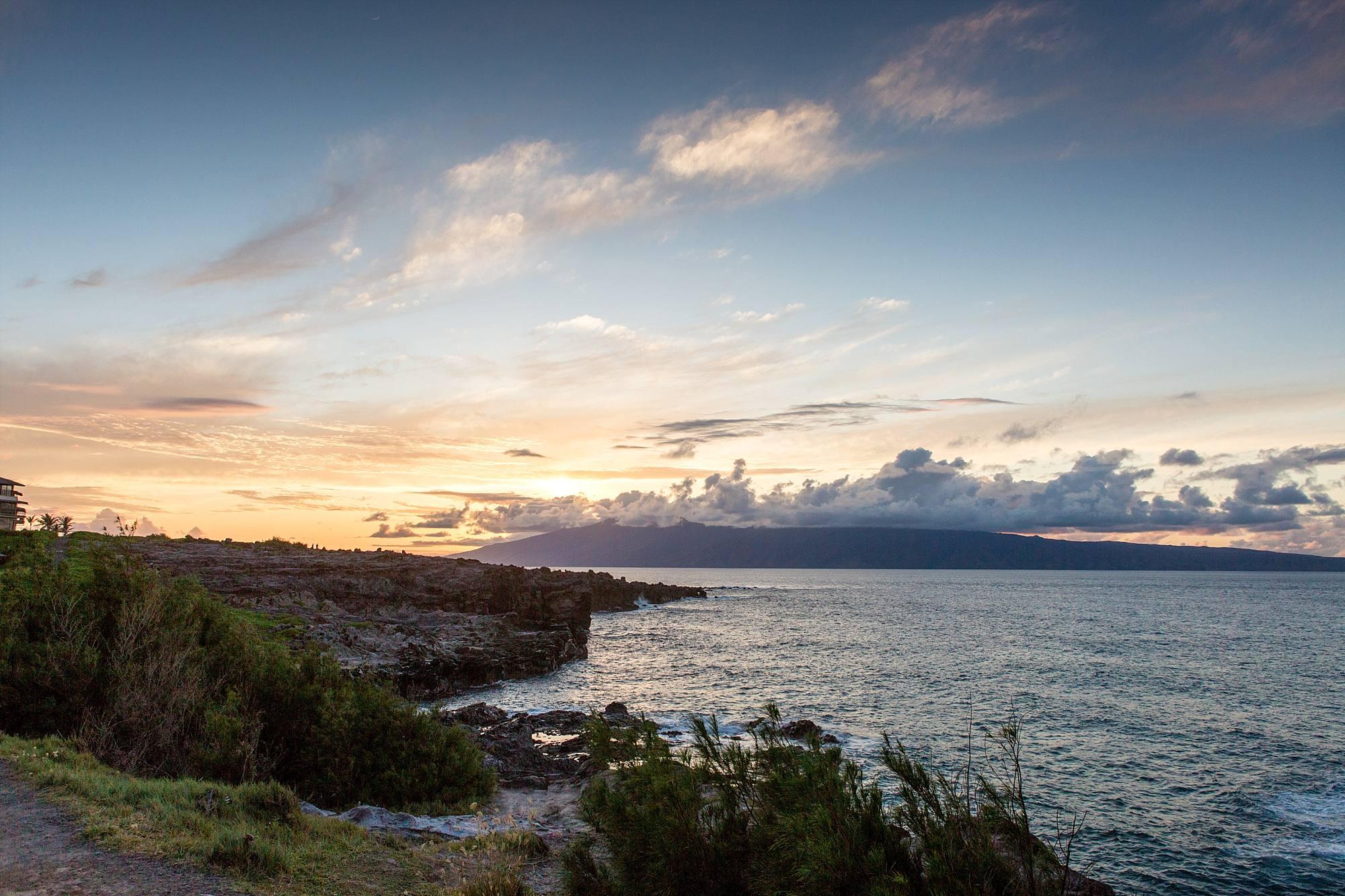 sunset off the cliffs of northwest Maui landscape shot