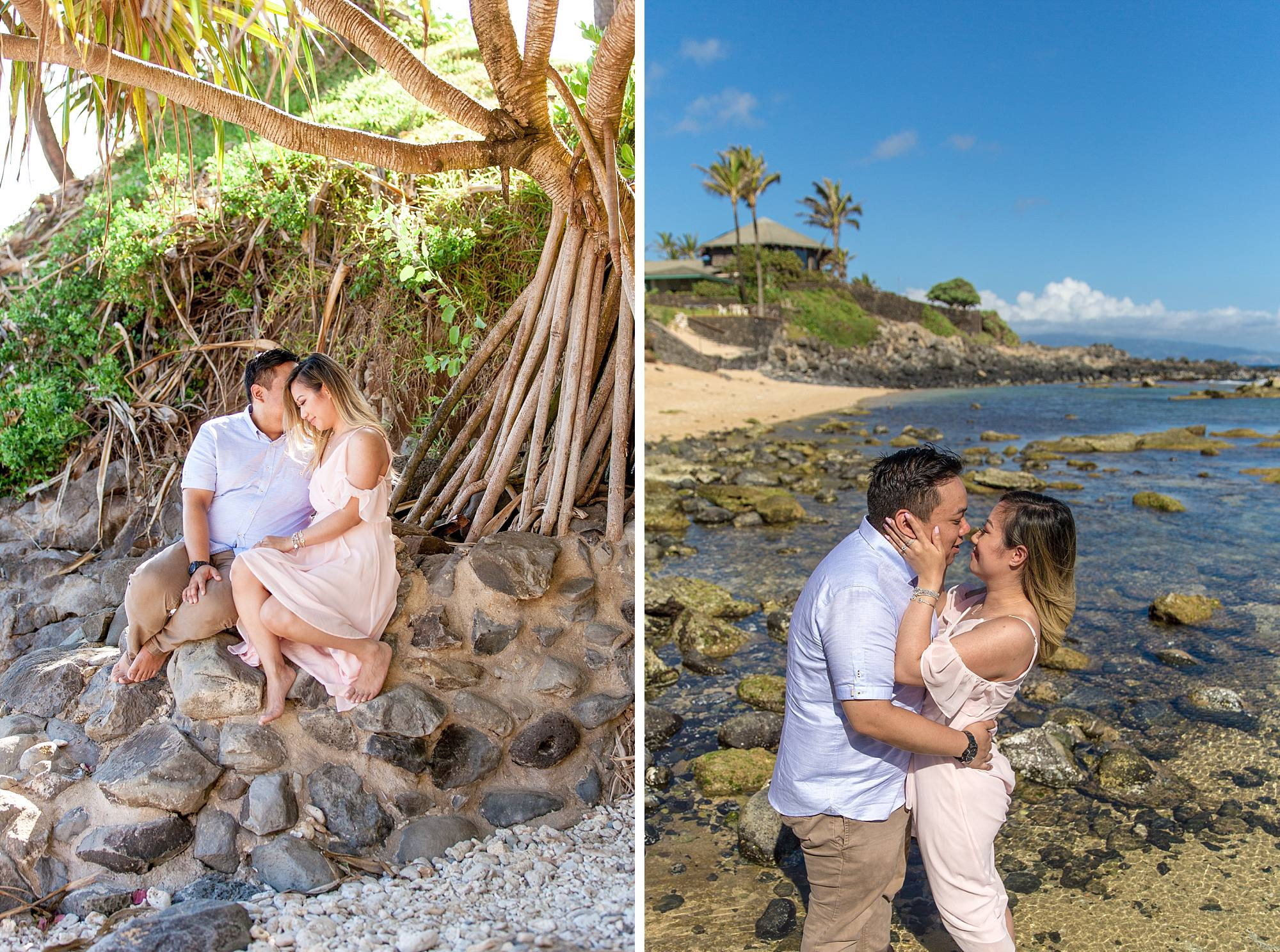 couple enjoying their engagement shoot together and crazy Maui tree in the background