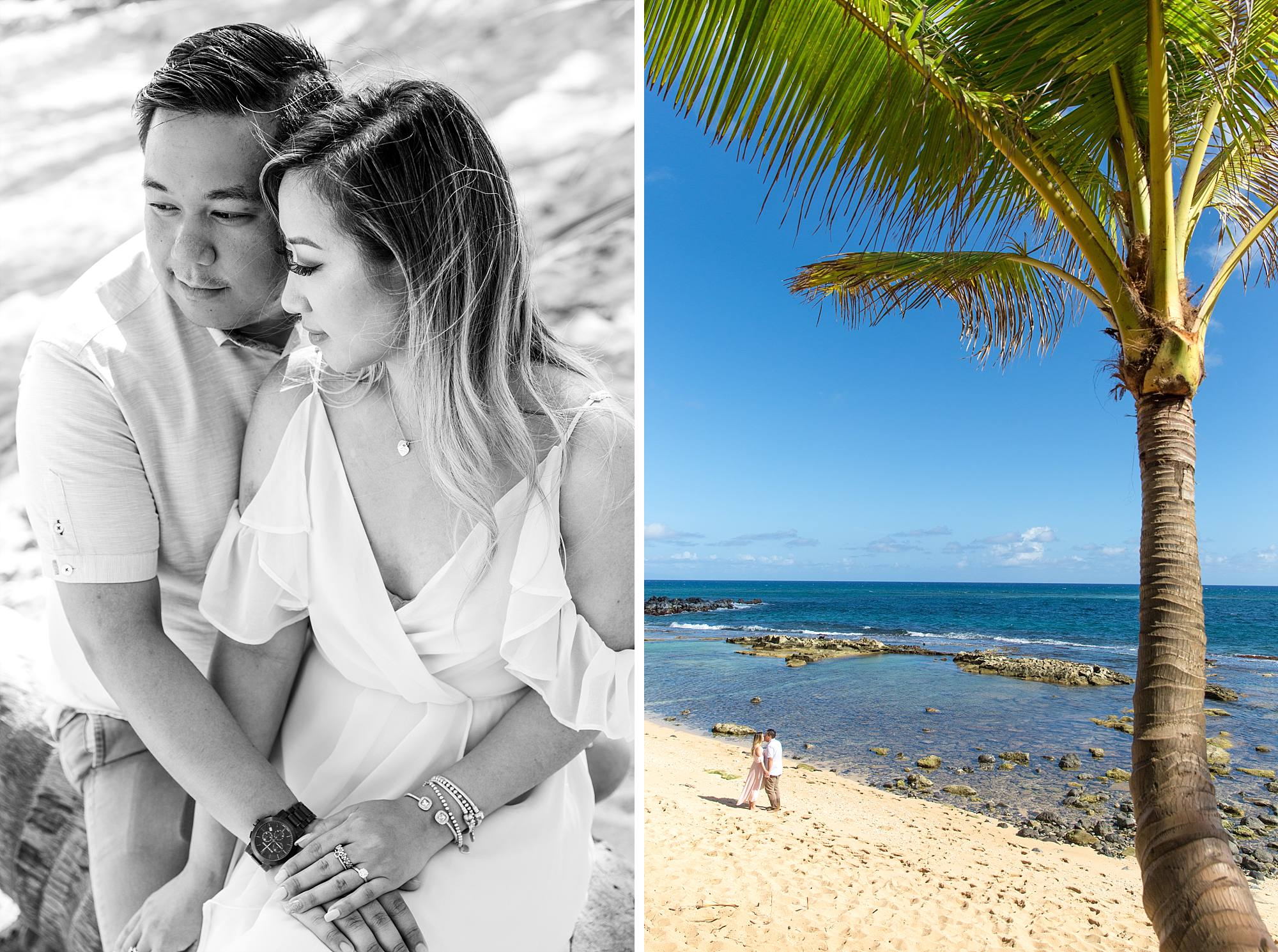 newly engaged couple snuggling on beautiful Maui beach