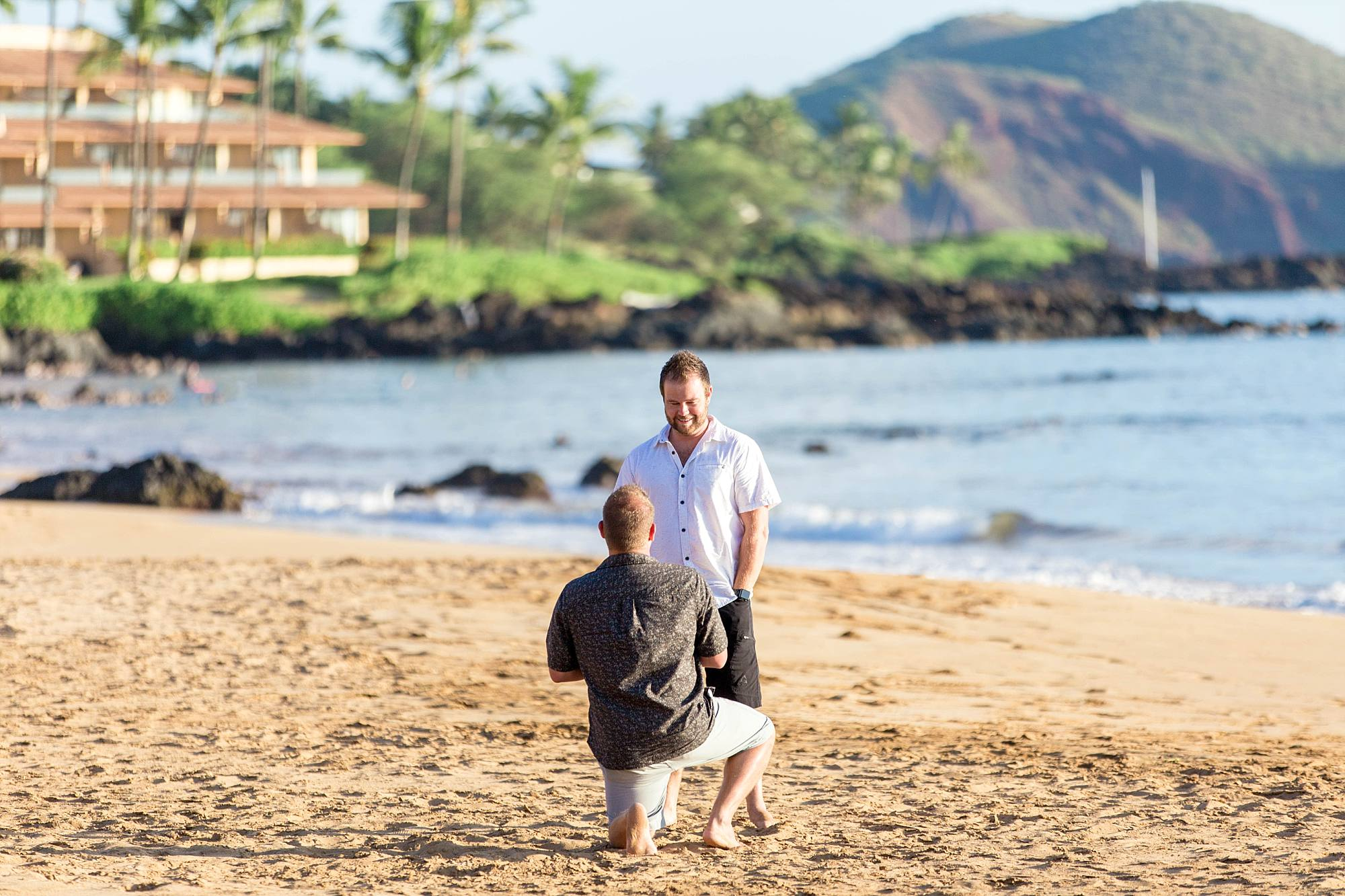 Down on one knee, man asking his boyfriend to marry him, South Maui