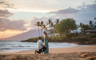 Sunset Beach Proposal in Wailea | Harrison + Daniela