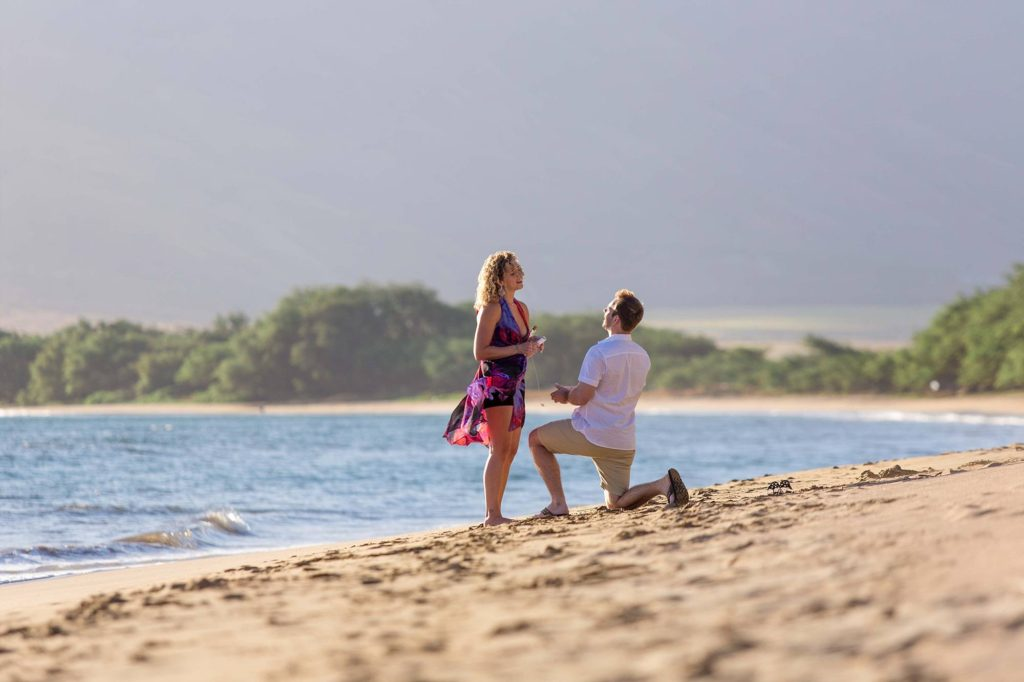 And proposing to his girlfriend at a beach proposal in Maalaea