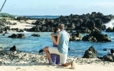 Lava Rocks, Beach, and Palm Tree South Maui Proposal | Robert + Leigh