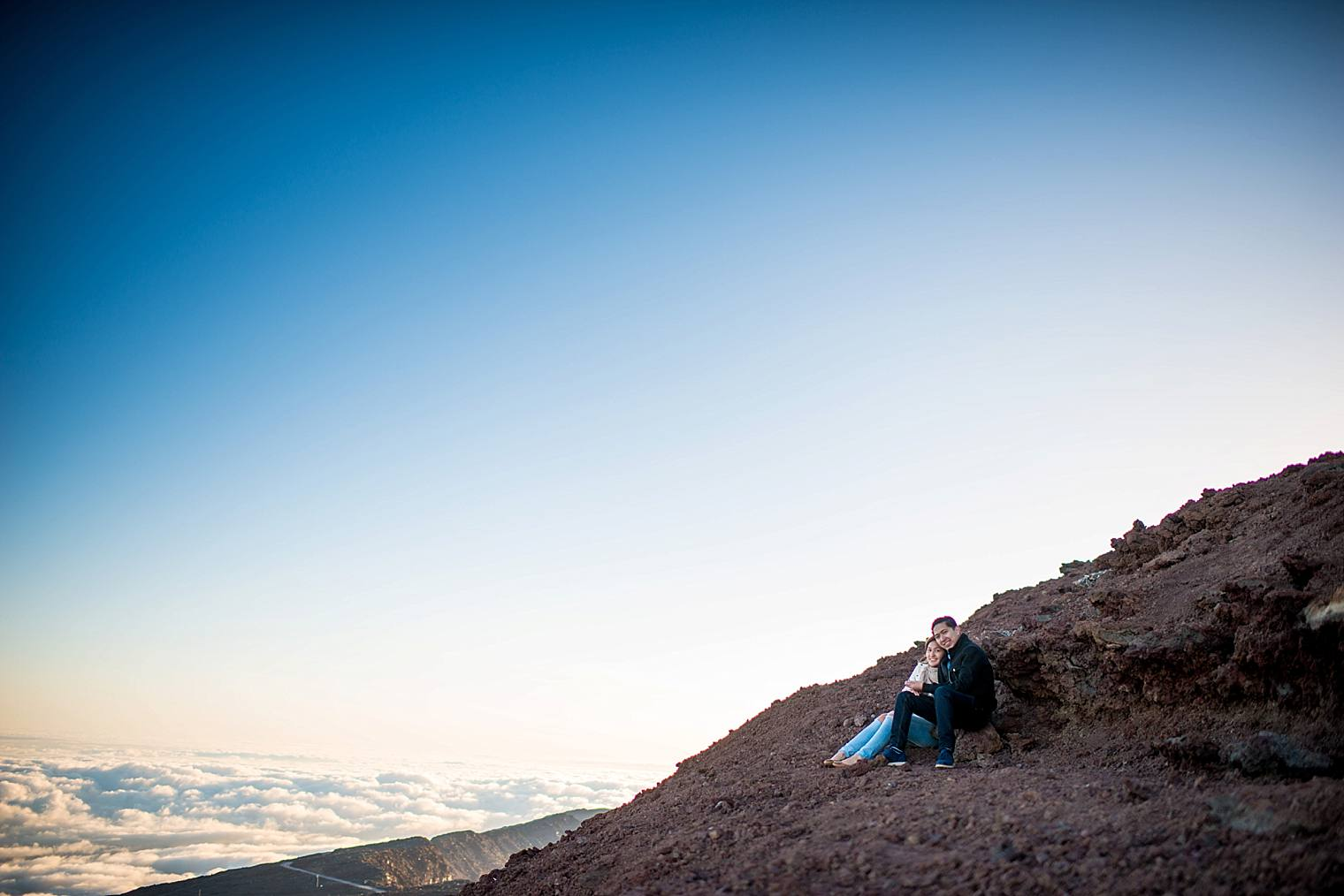 engagement photos on a volcano