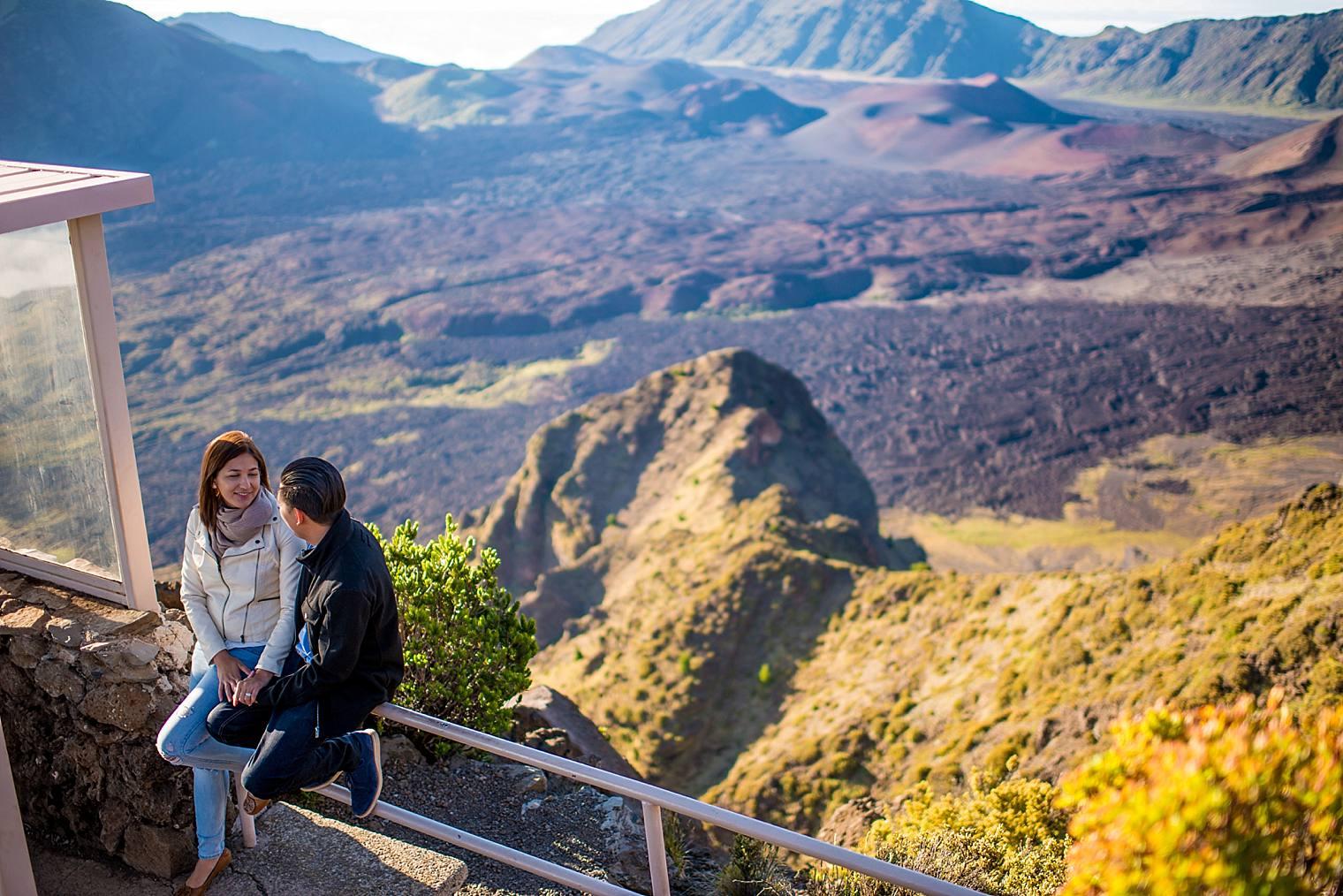 engaged couple in Haleakala's crater