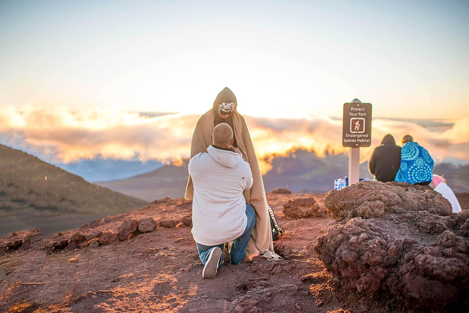 Jason + Darci  | Sunrise Proposal on Maui's Dormant Volcano