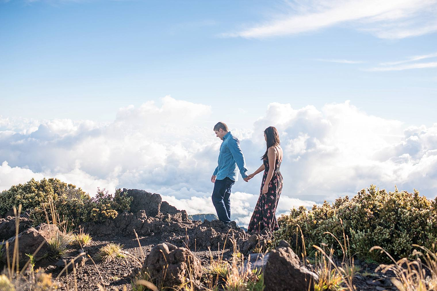 Couple walking along ridge in Haleakala National Park
