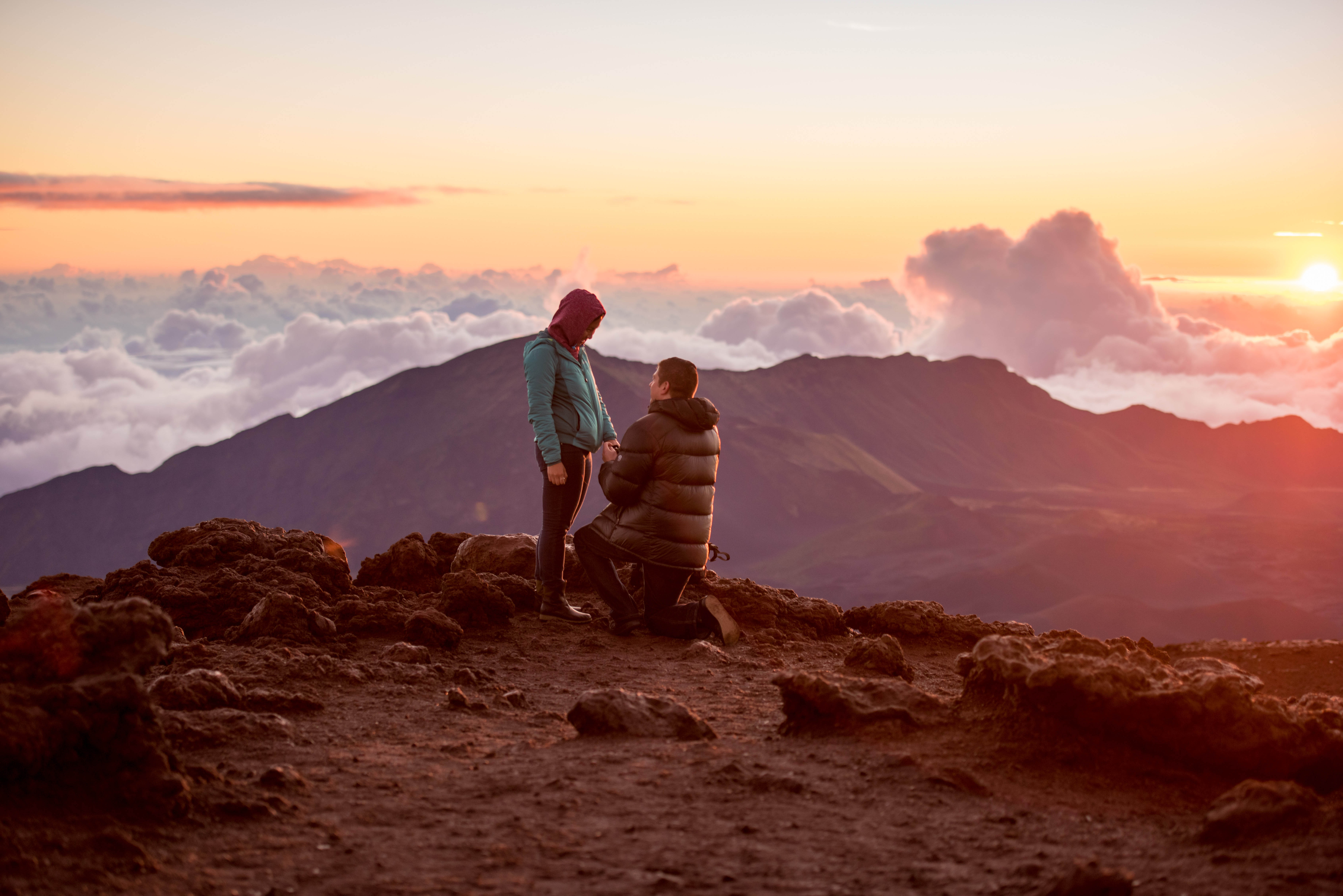Amazing Sunrise Proposal on Haleakala | Maui Proposal Photographer