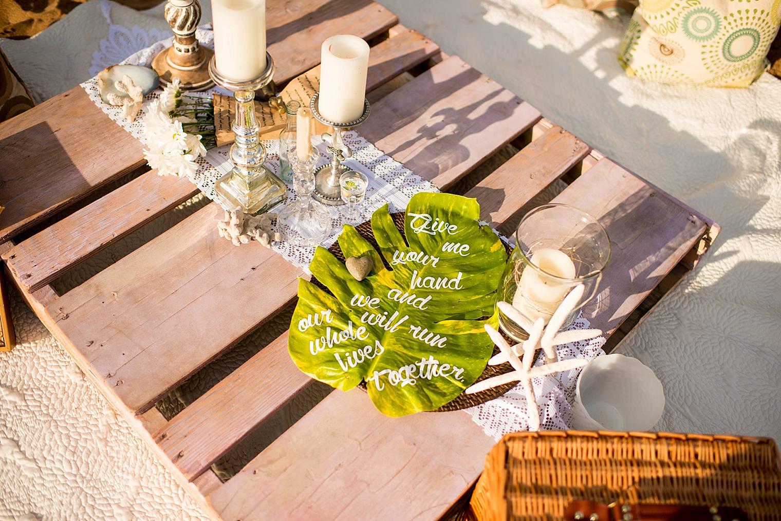 pallet beach set up for romantic picnic