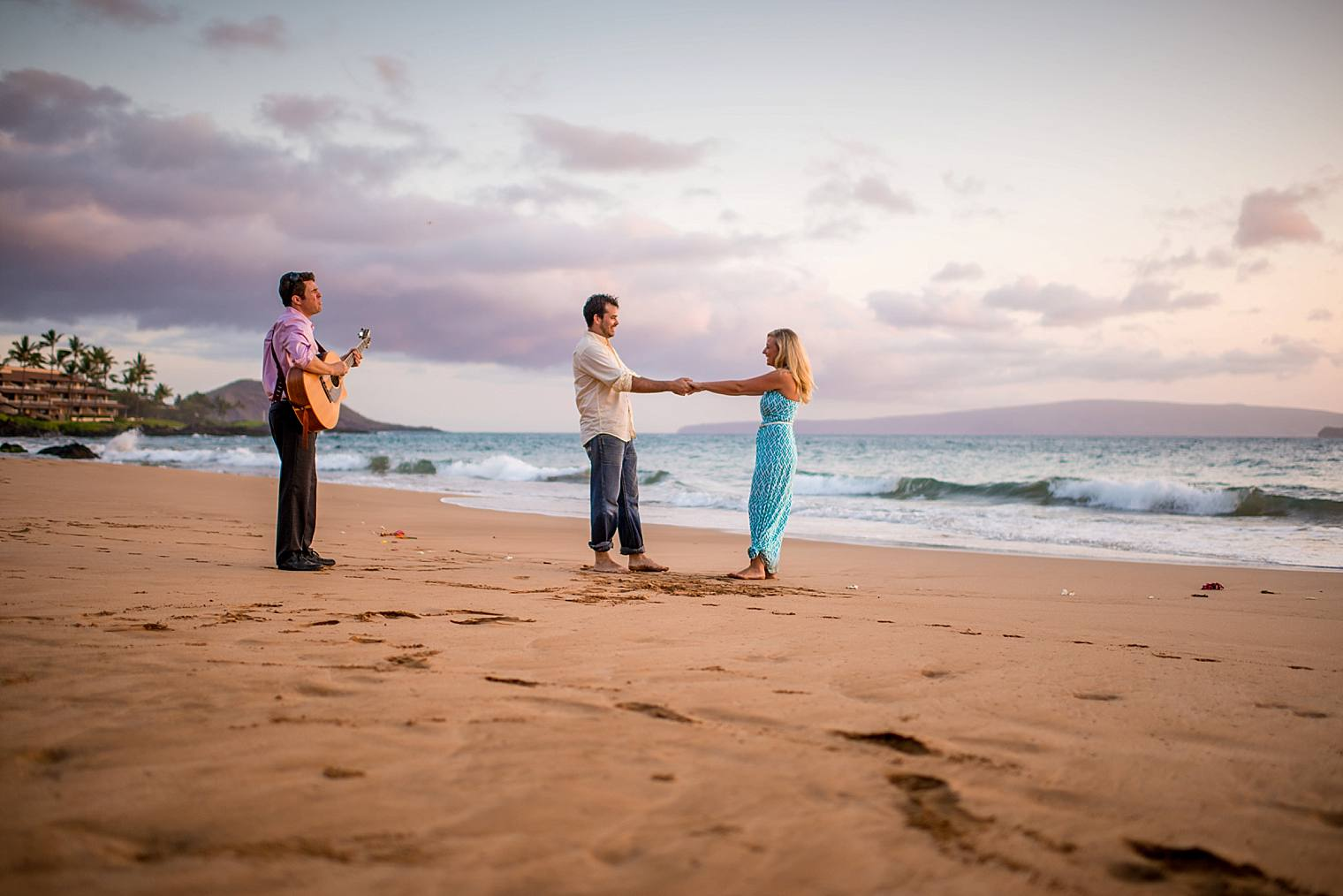 dancing on the beach with private musician