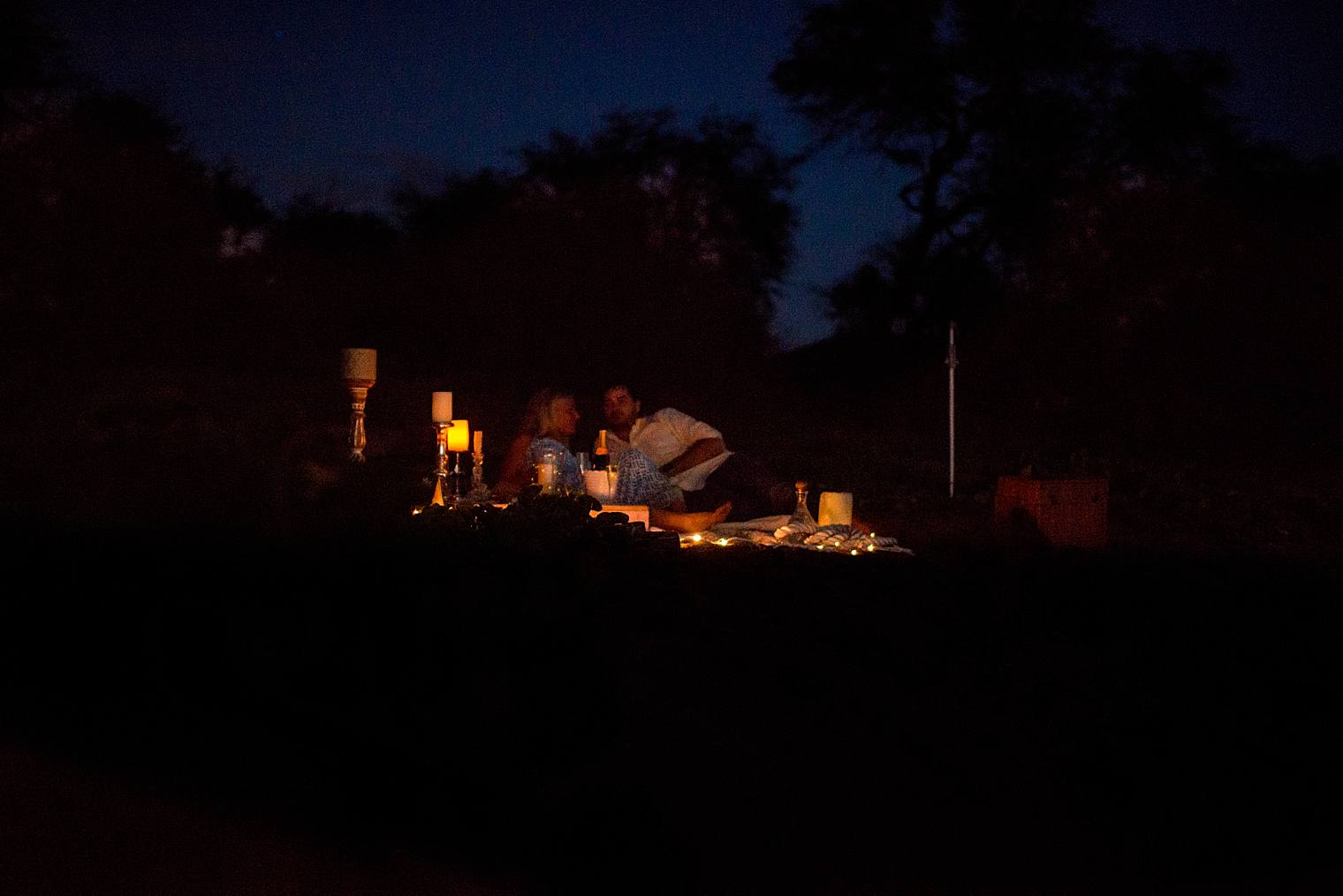 candlelit romantic picnic at night