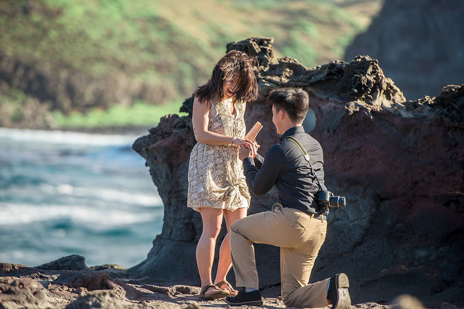 Surprise heart rock proposal in maui, hawaii