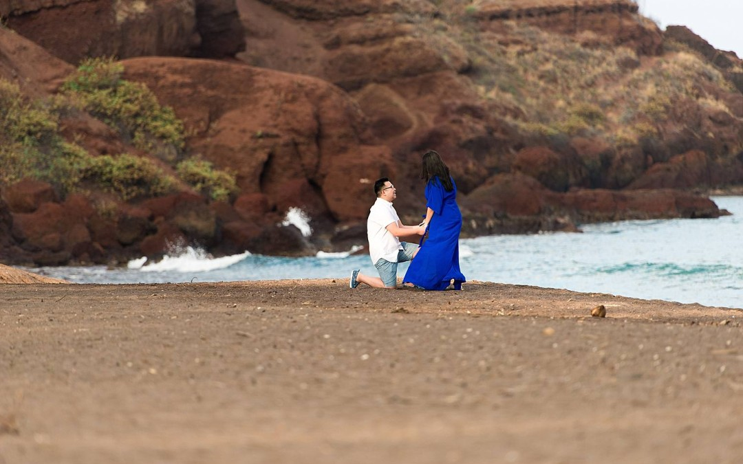 Ace + Linh | Maui Proposal at Black Sand Beach