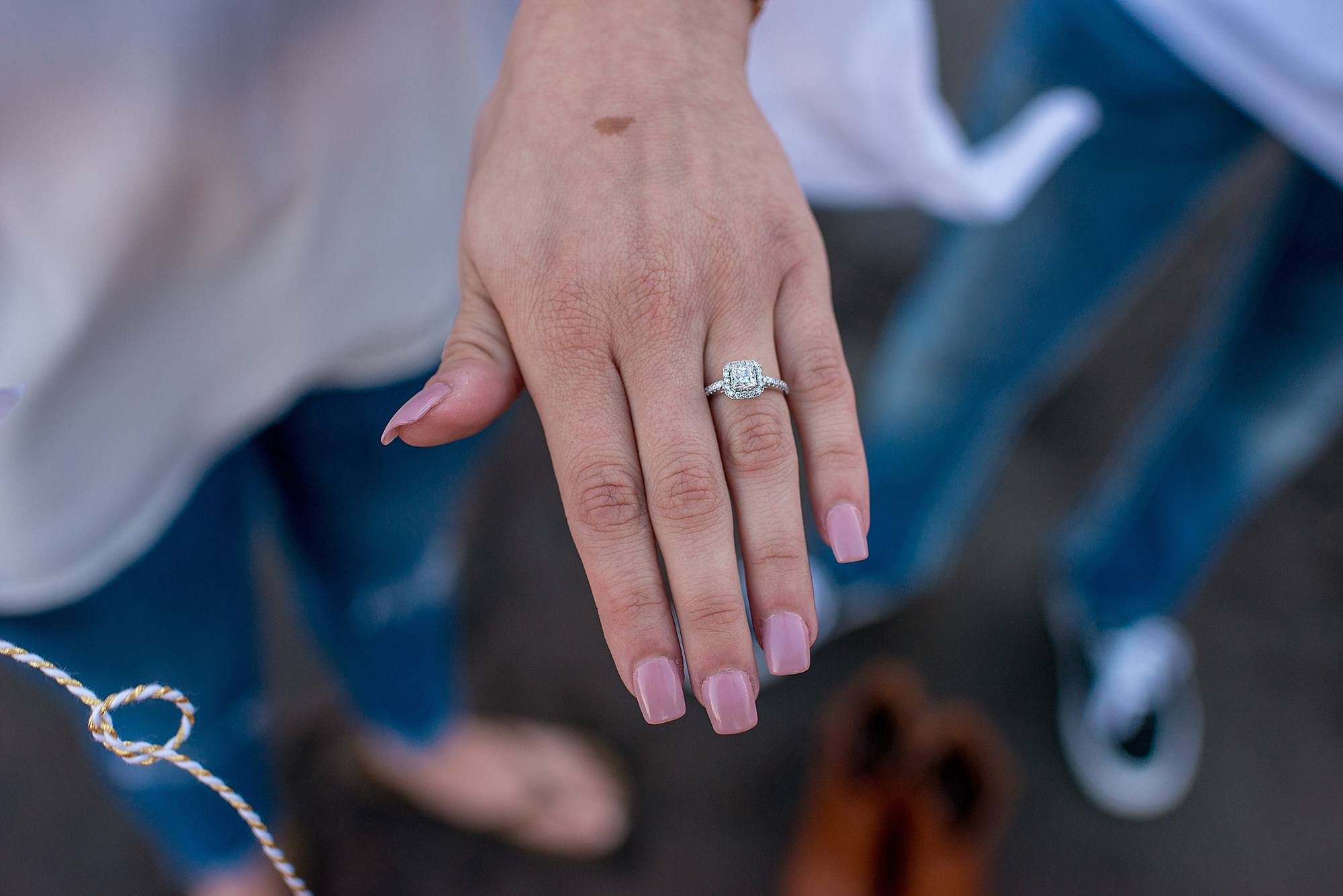 engagement ring with cushion setting