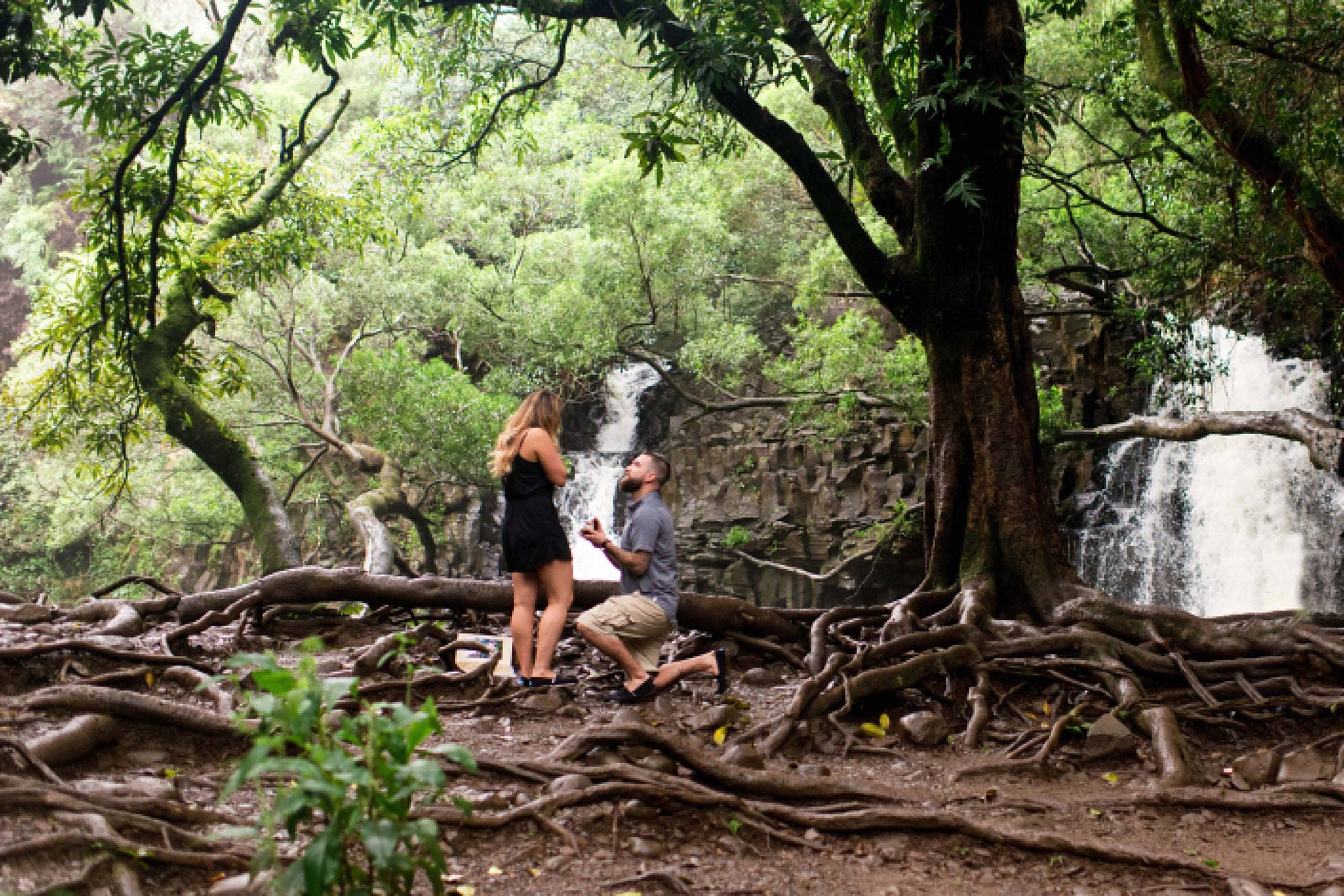 romantic engagement photos at Kukahiko Estate in Maui