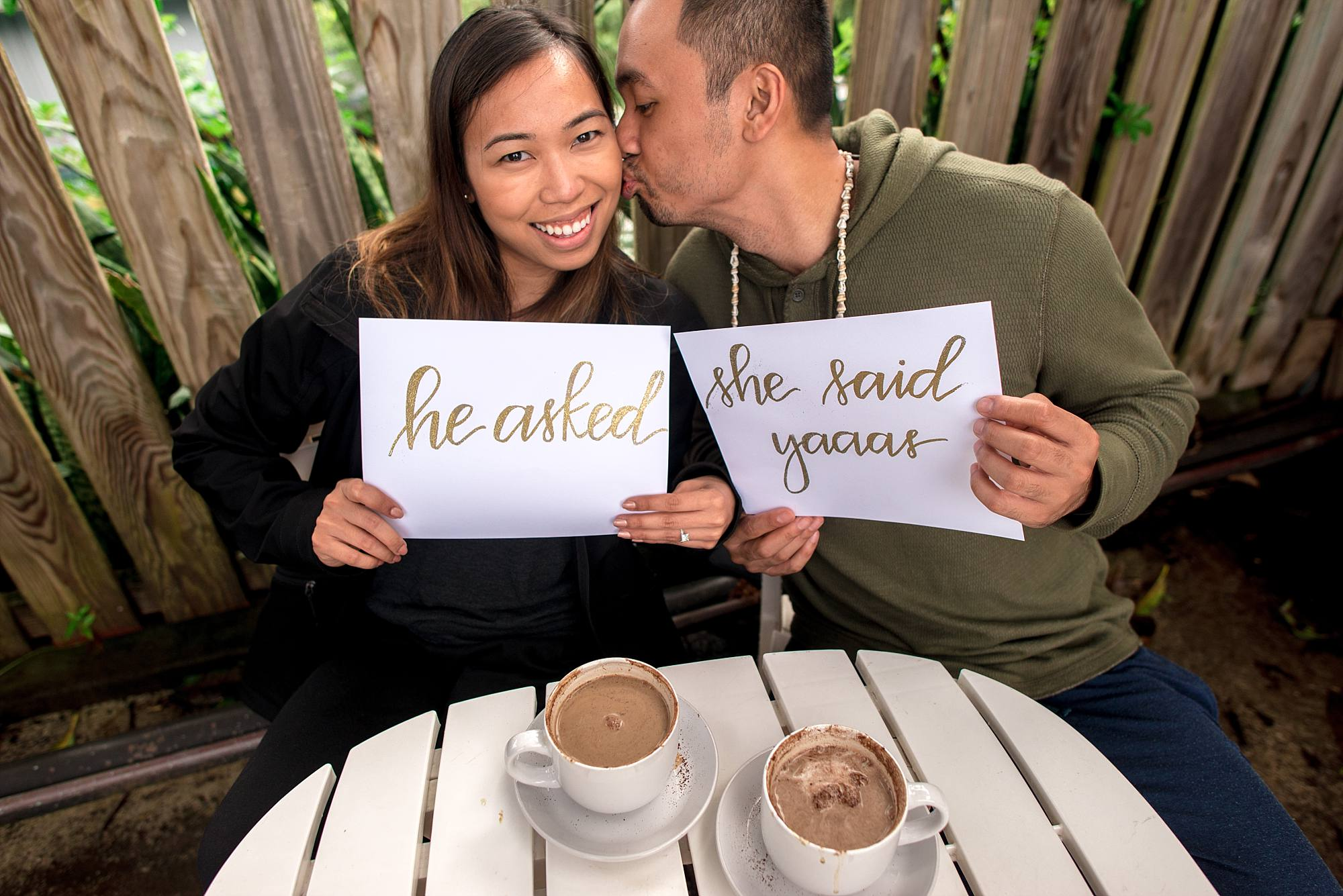 man and woman holding signs kissing and drinking coffee