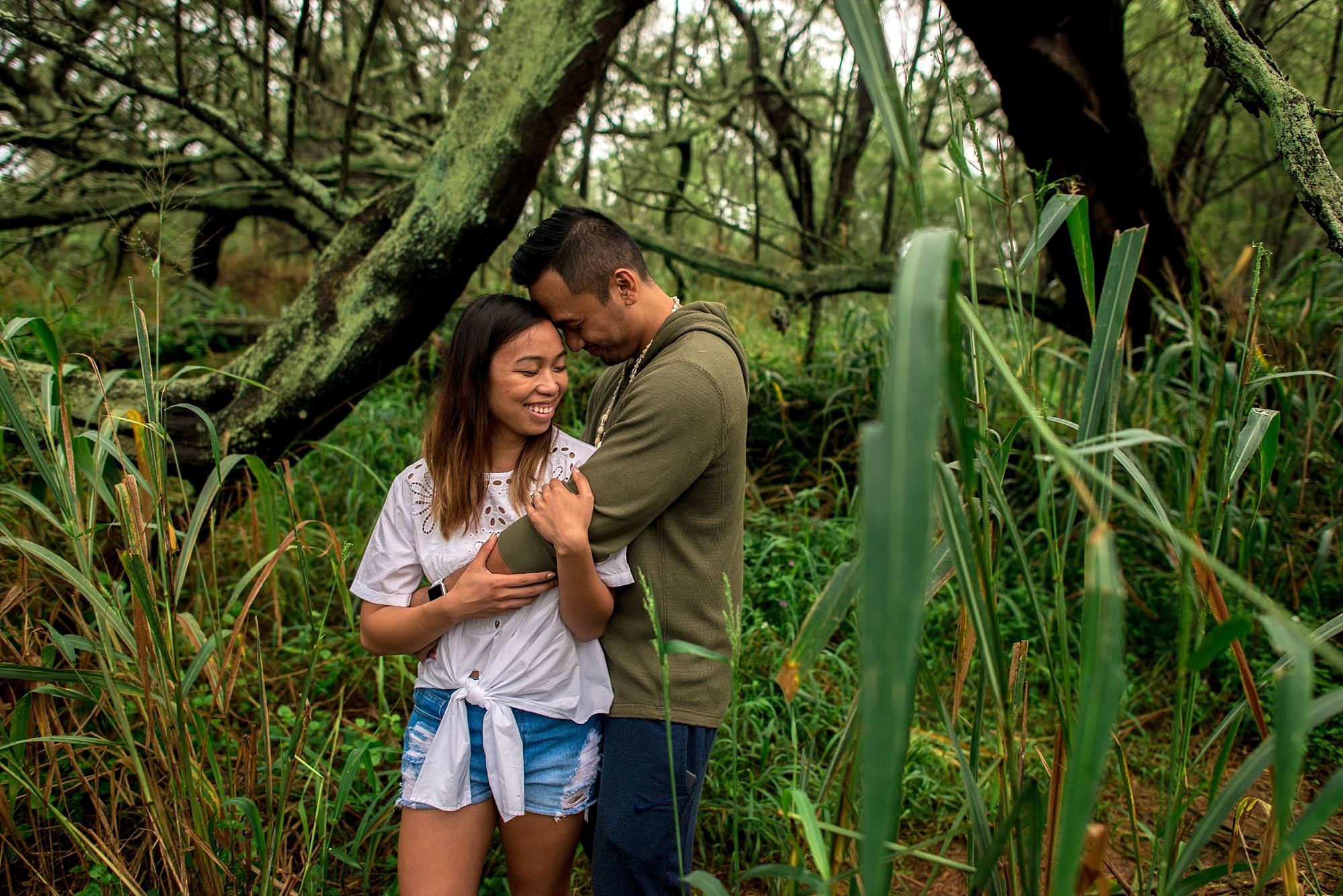 couple hugging on a hike