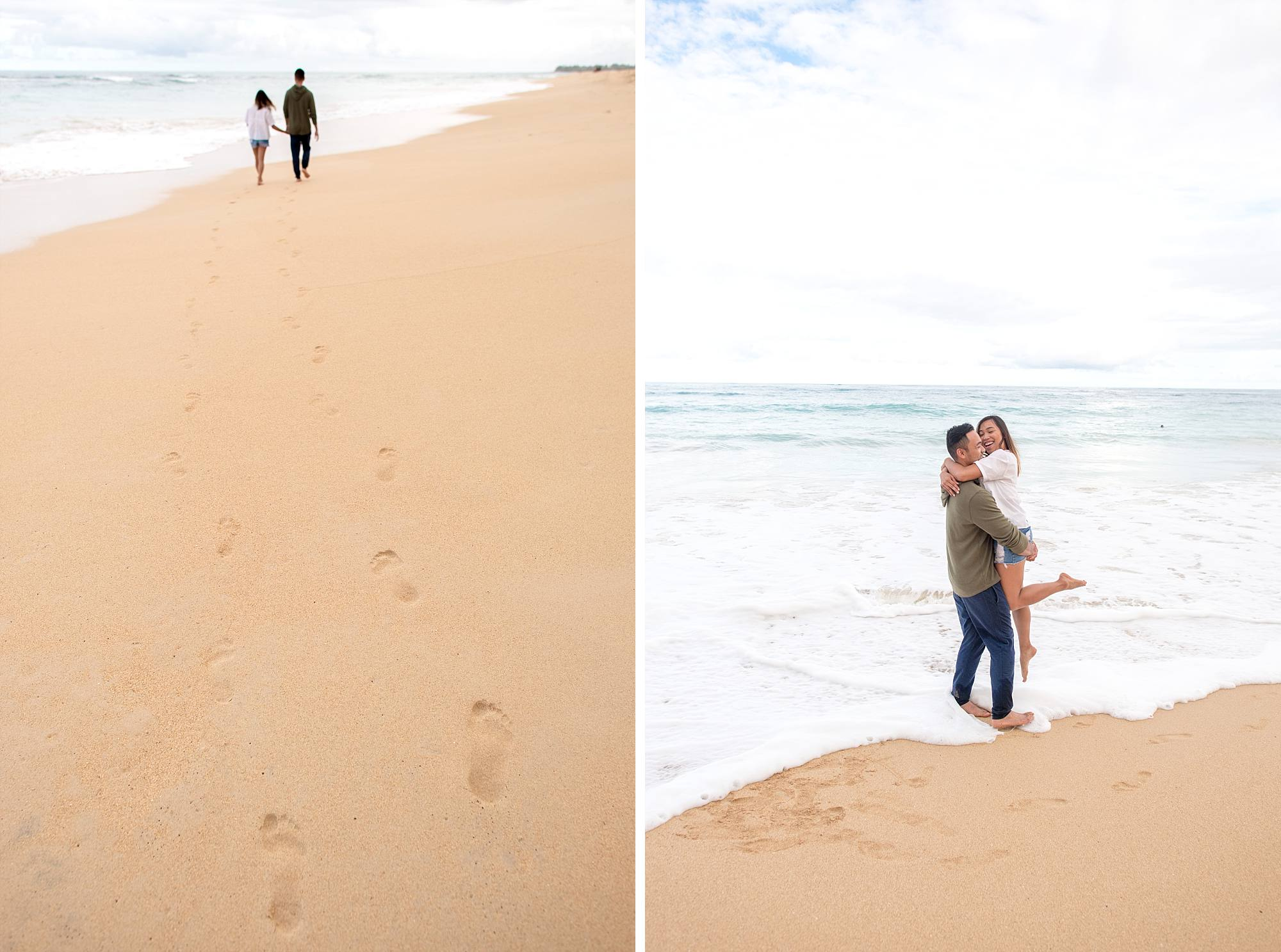 newly engaged couple hugging on beach