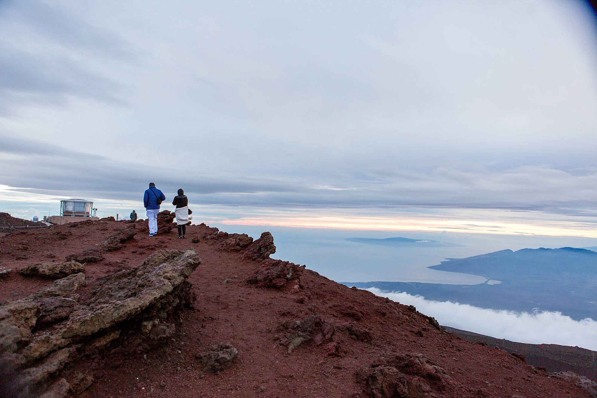 couple walking atop Haleakala