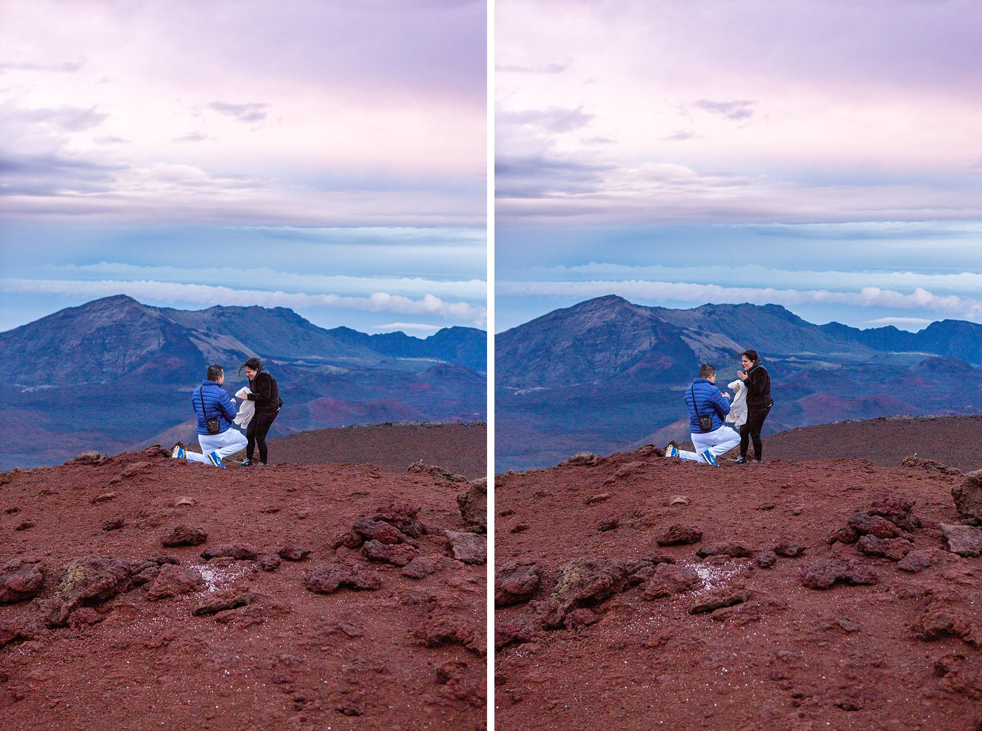 man propsing on top of Haleakala