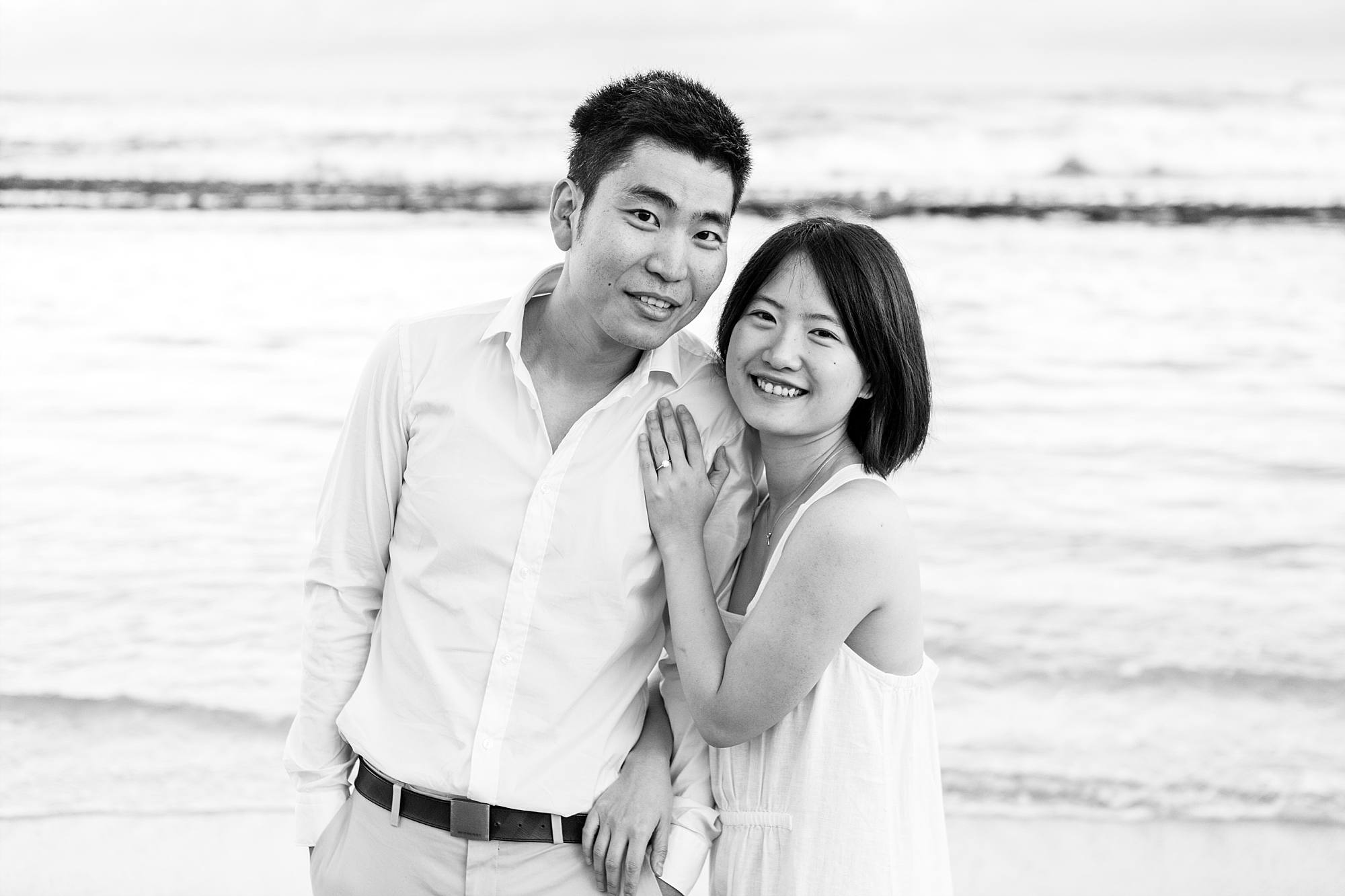 black and white portrait of newly engaged couple