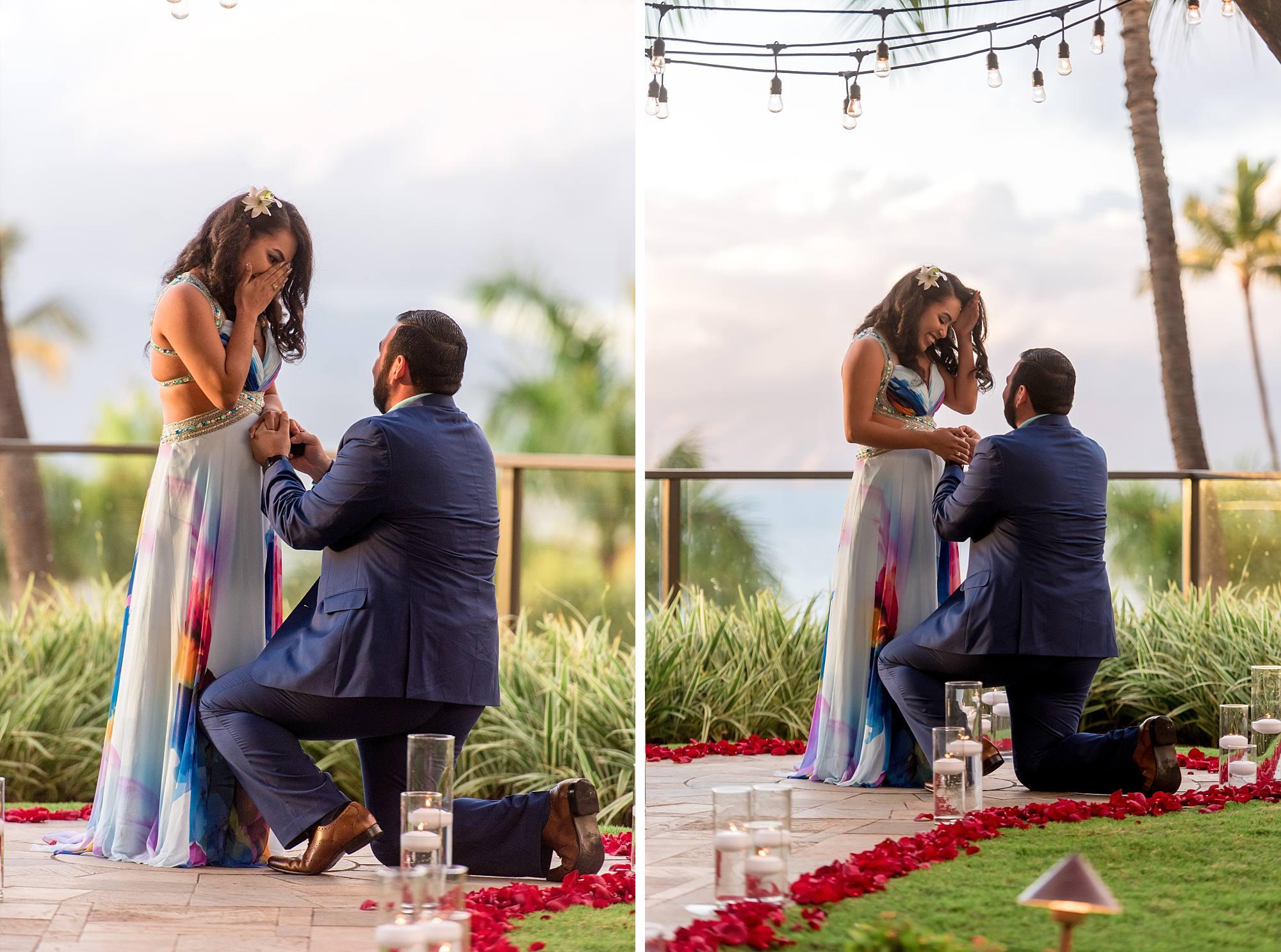 Man proposing, down on one knee, woman suprised