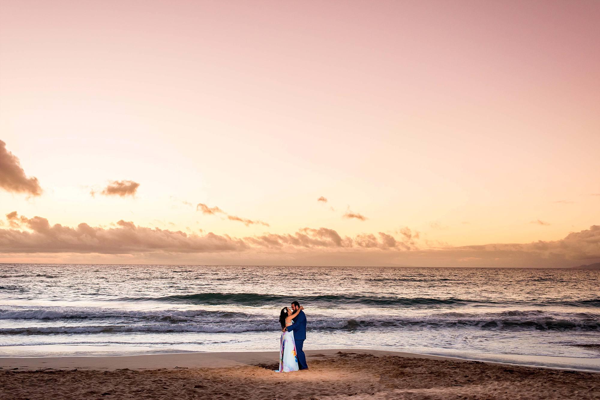 sunset lovers on the beach