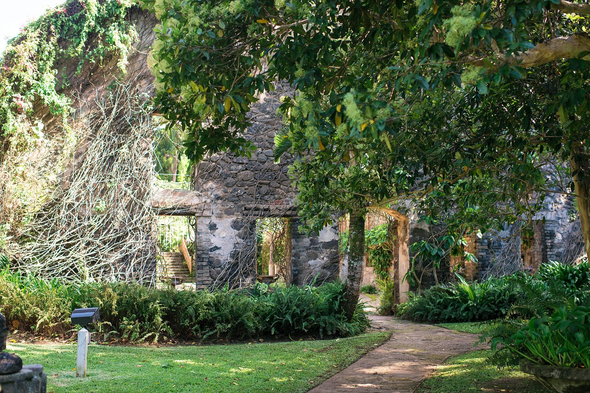 gorgeous green and stone entrance to Haiku Mill